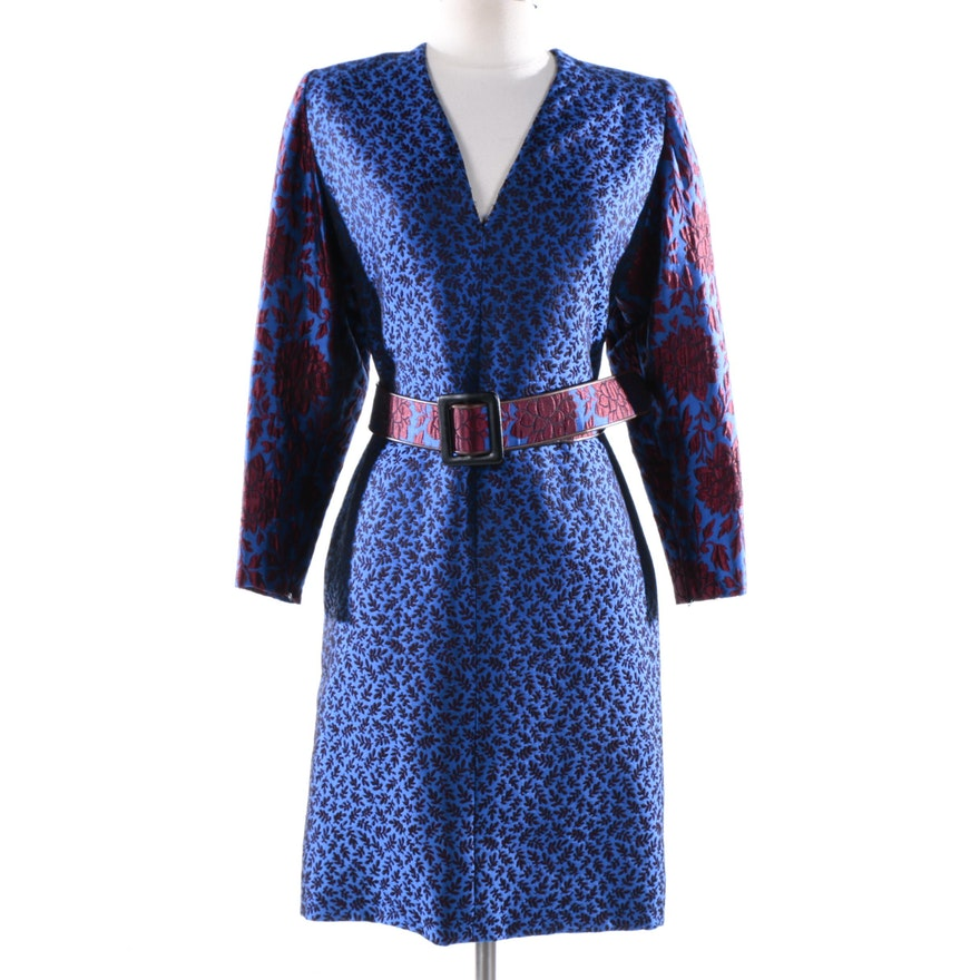 a6a8055bc6e0cb Circa 1980s Vintage Galanos Blue and Red Floral Brocade Dress   EBTH