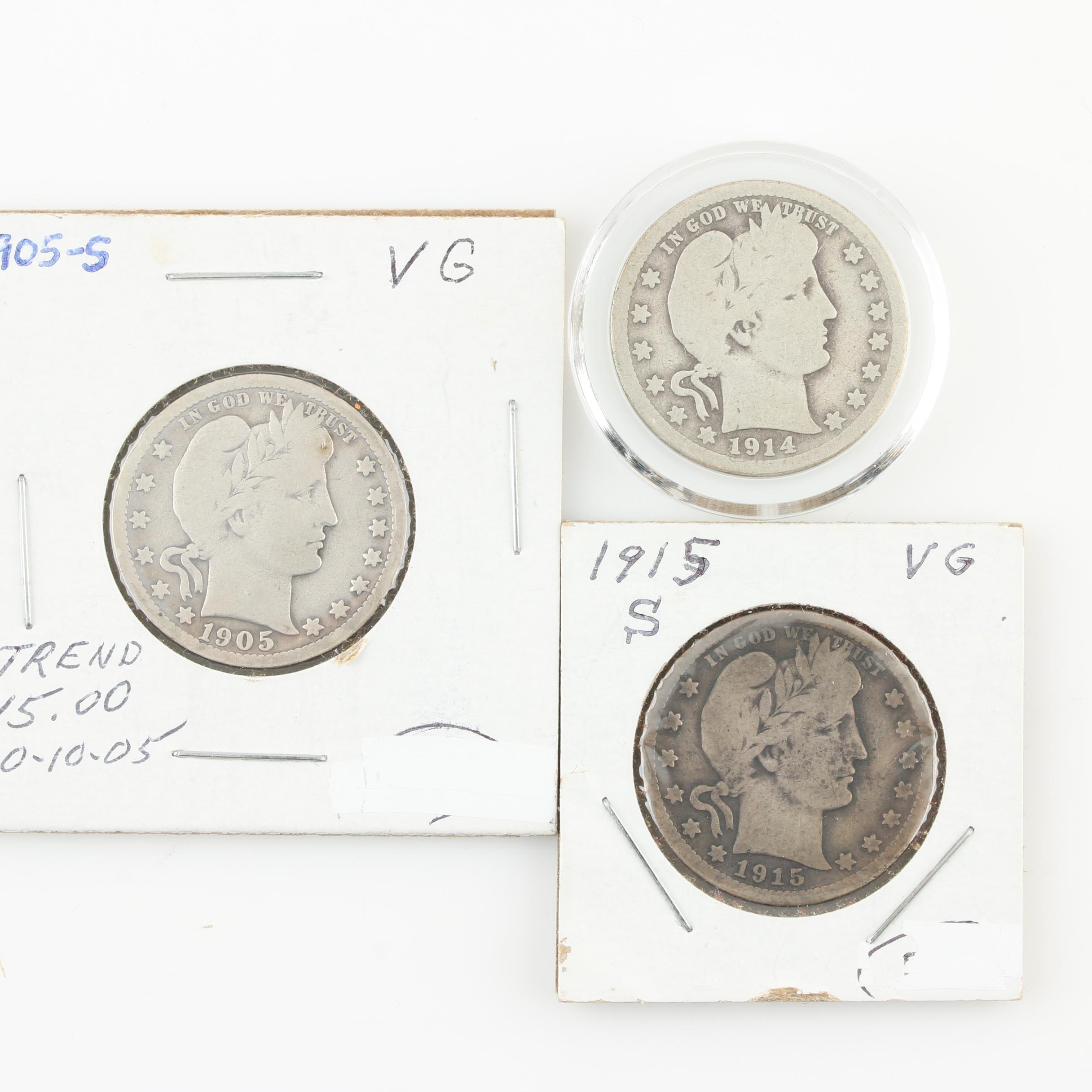 Three Barber Silver Quarters Including a Key Date 1914-S