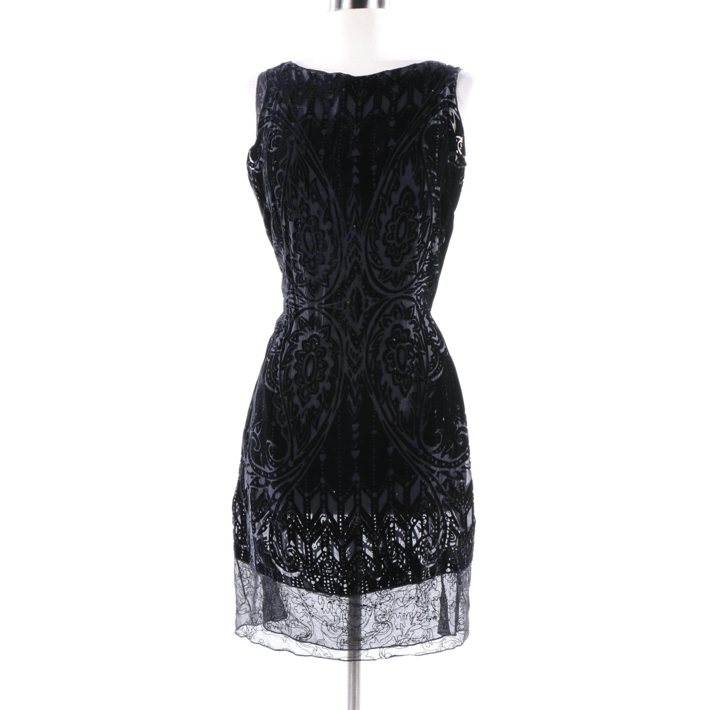 Rozae Nichols Black Velvet Burnout and Rhinestone Sleeveless Cocktail Dress