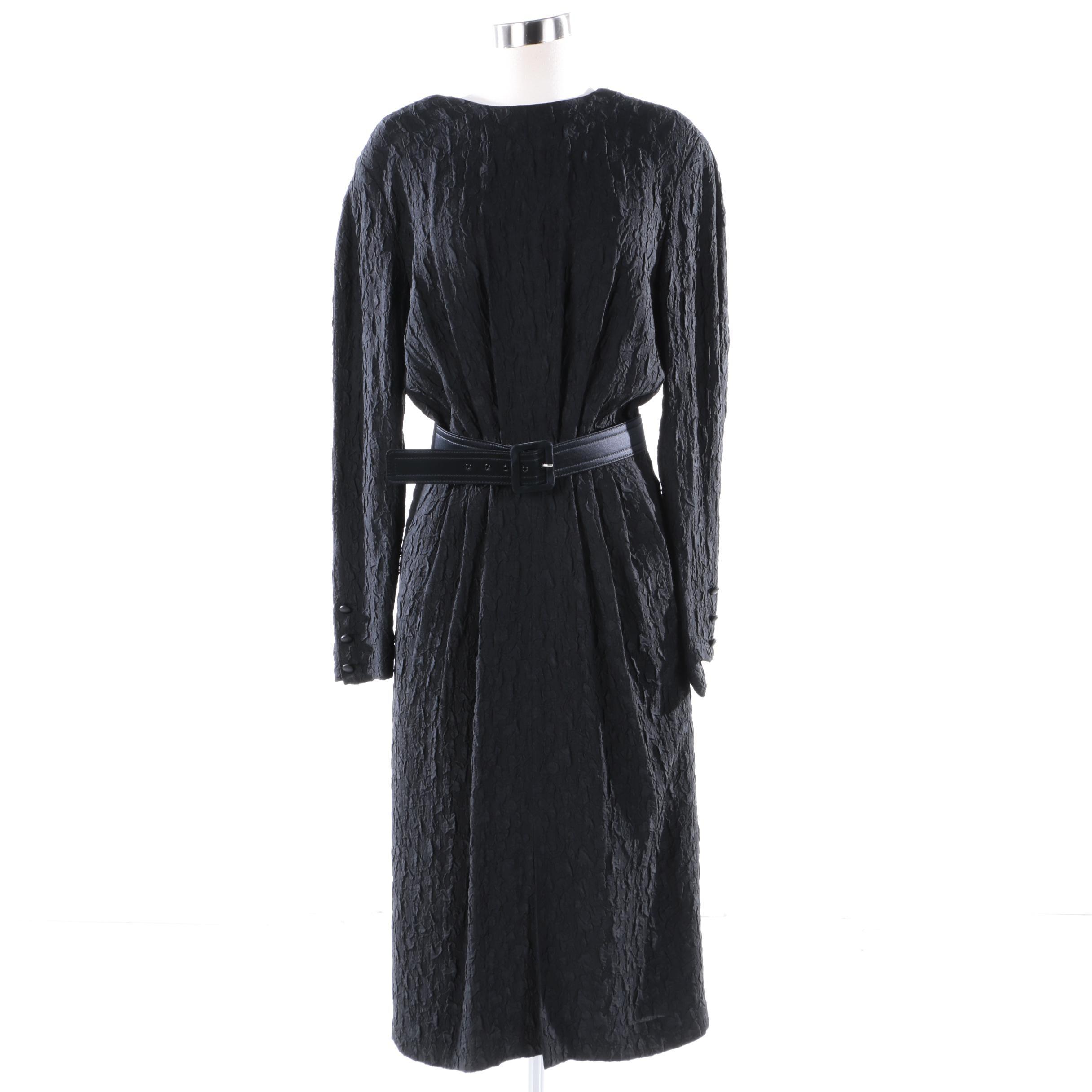 1980s Vintage Escada Silk Blend Black Pleat Evening Dress
