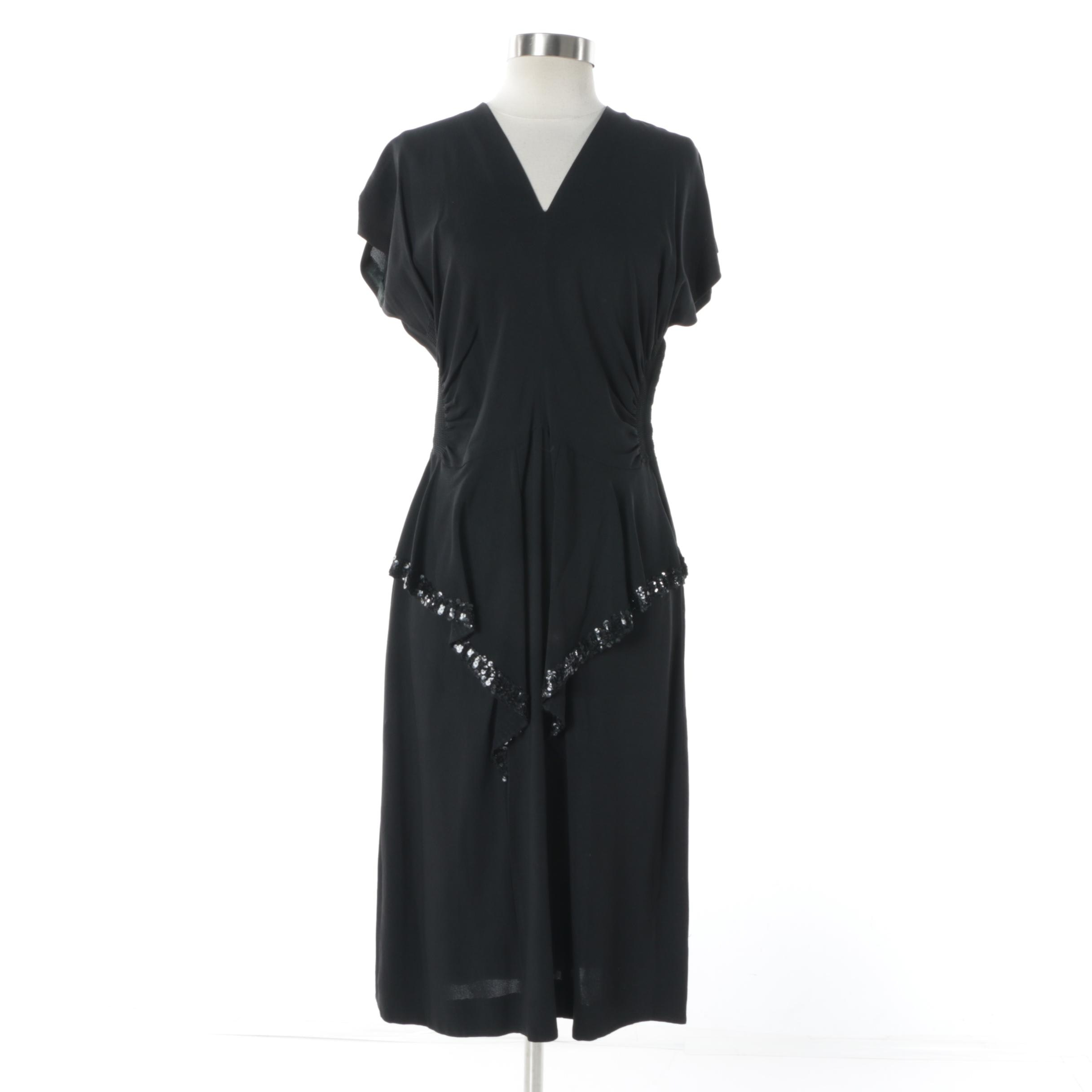 Circa 1940s Black Silk Dress with Ruched Sides and Sequin Detail