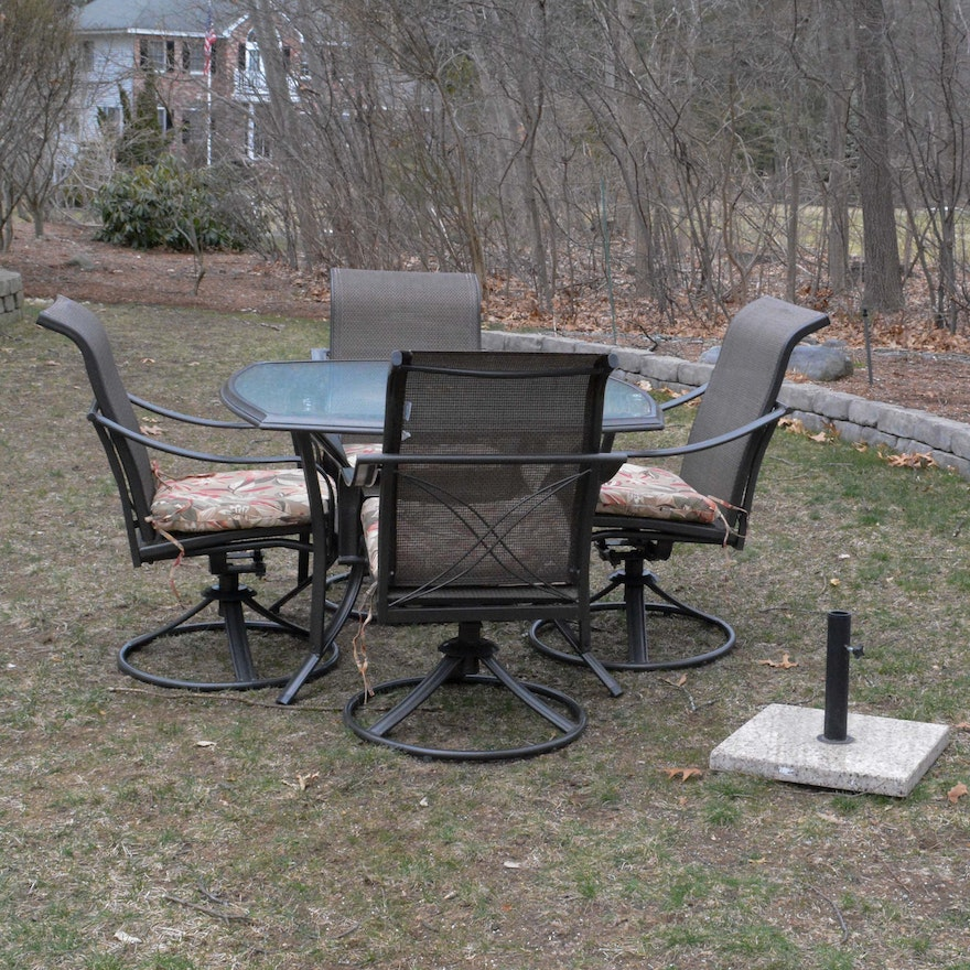 Martha Stewart Living Patio Table And Chairs With Umbrella And Stand