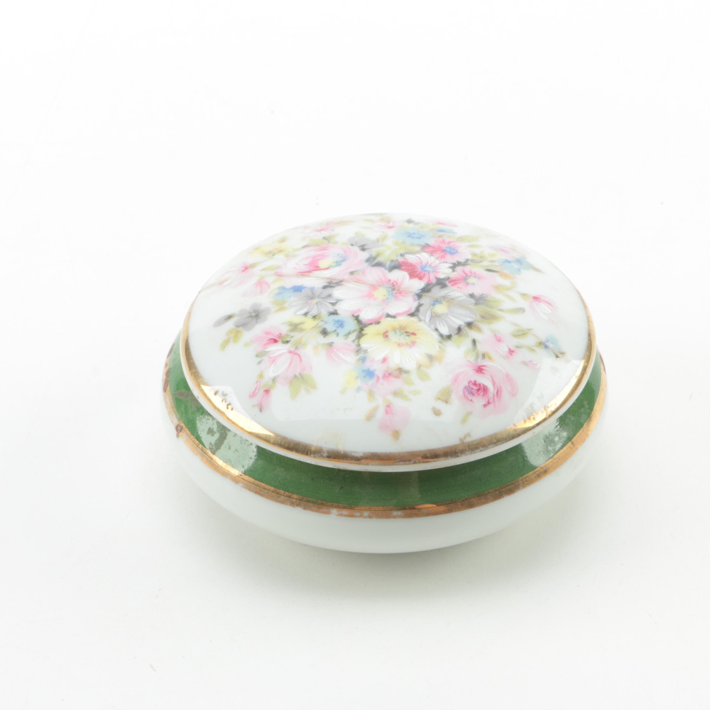 Round Limoges France Floral Trinket Box