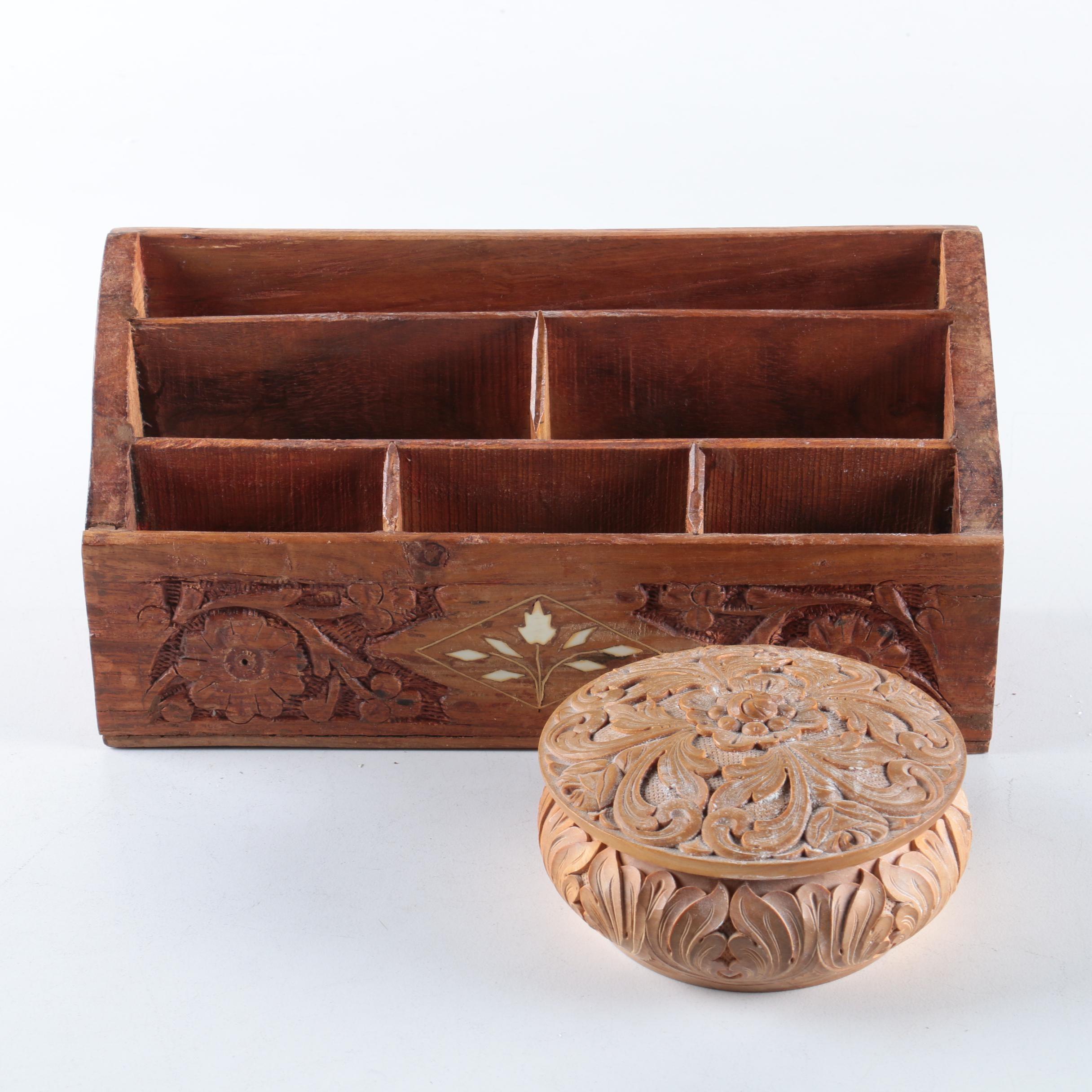 Wooden Organizer and Trinket Box