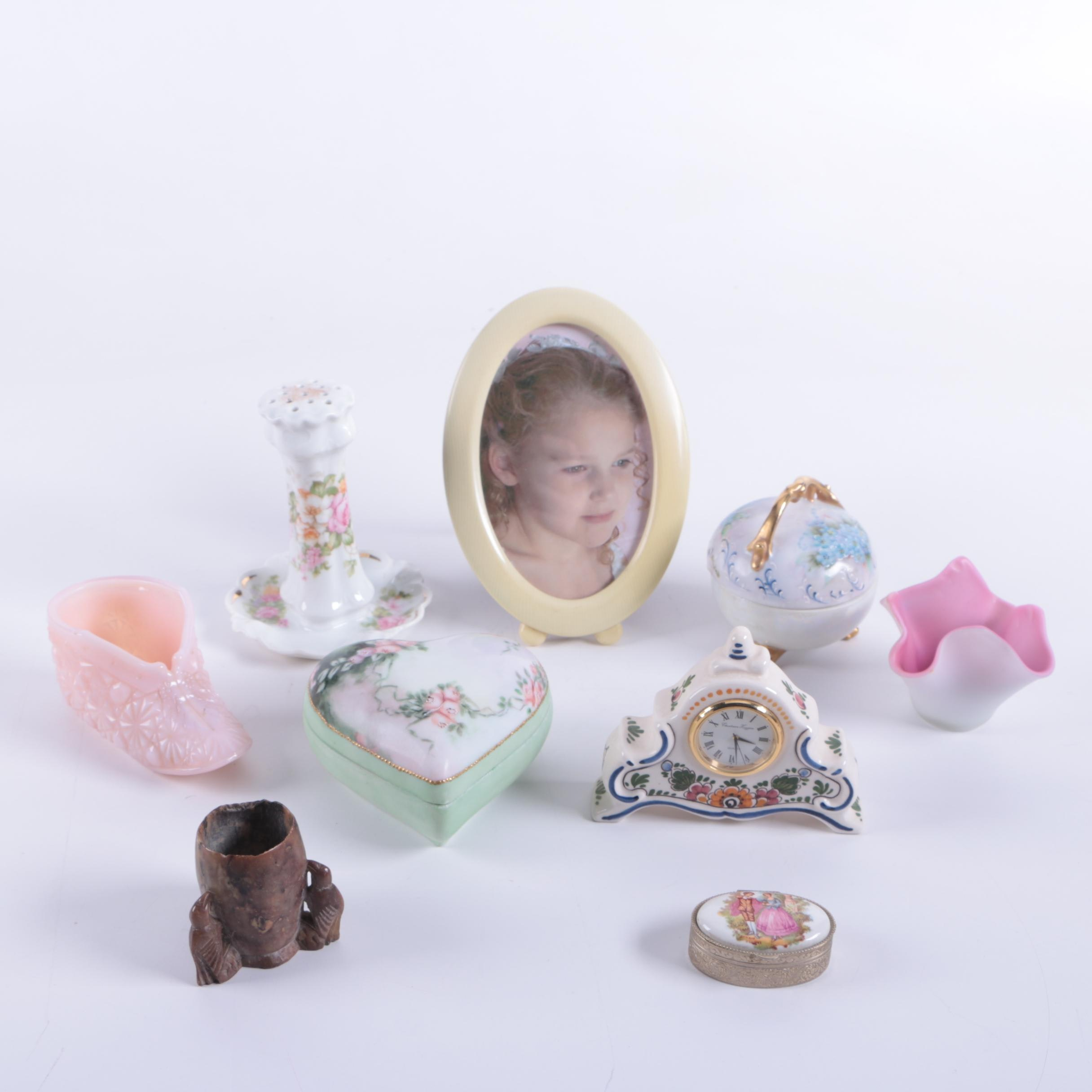 Assortment of Décor including a Picture Frame and Trinket Boxes