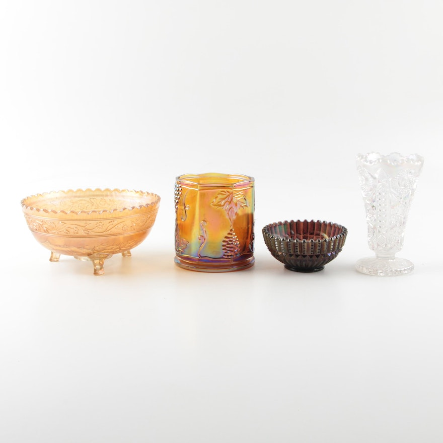 Vintage Carnival Glass Vases And Bowls Ebth