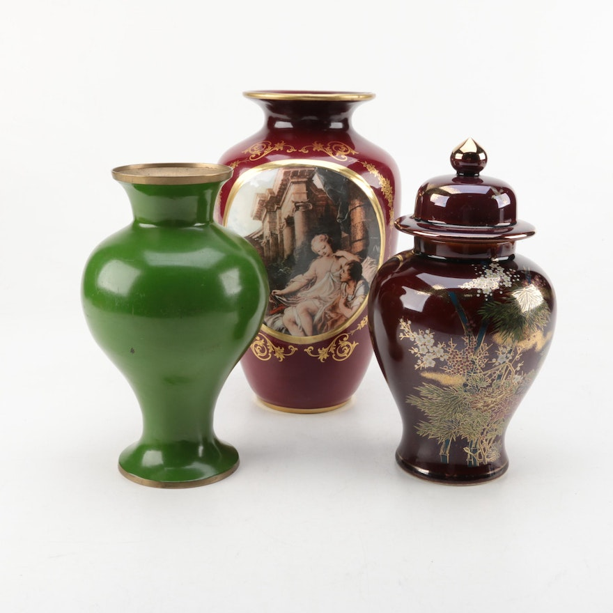 Keramos Vase And Japanese Urn Ebth