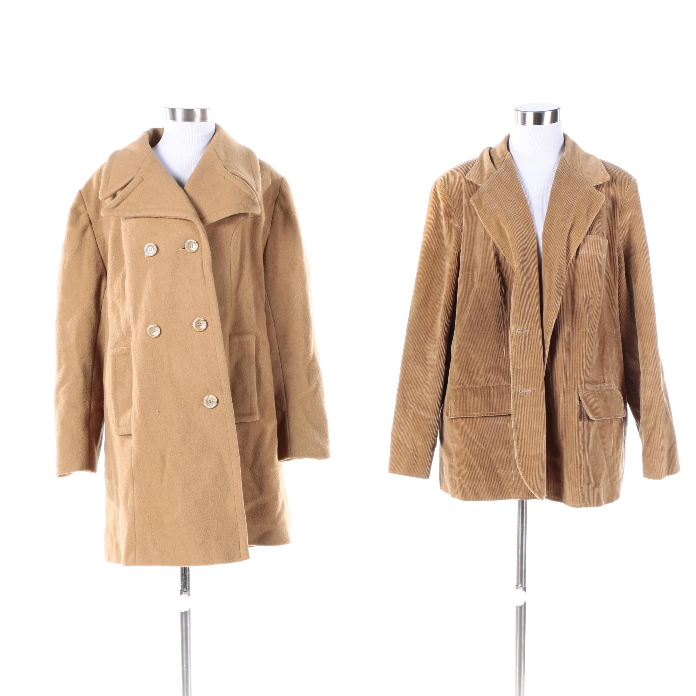 Women's Vintage Coatree Corduroy Jacket and Double-Breasted Wool Coat
