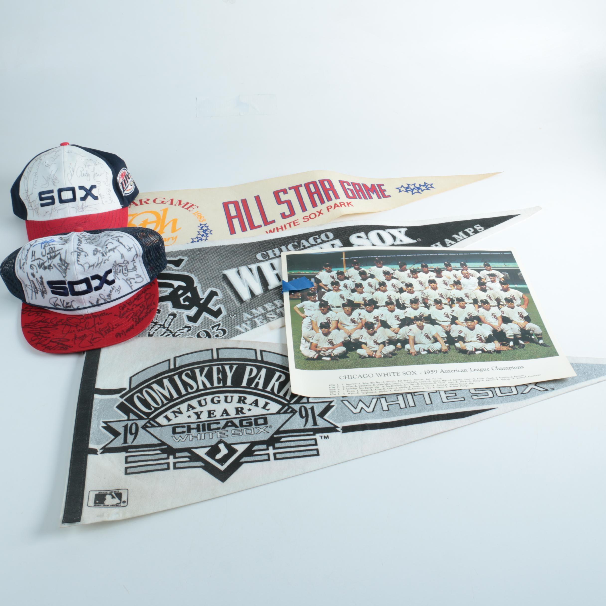 White Sox Memorabilia Including Autographed Hats