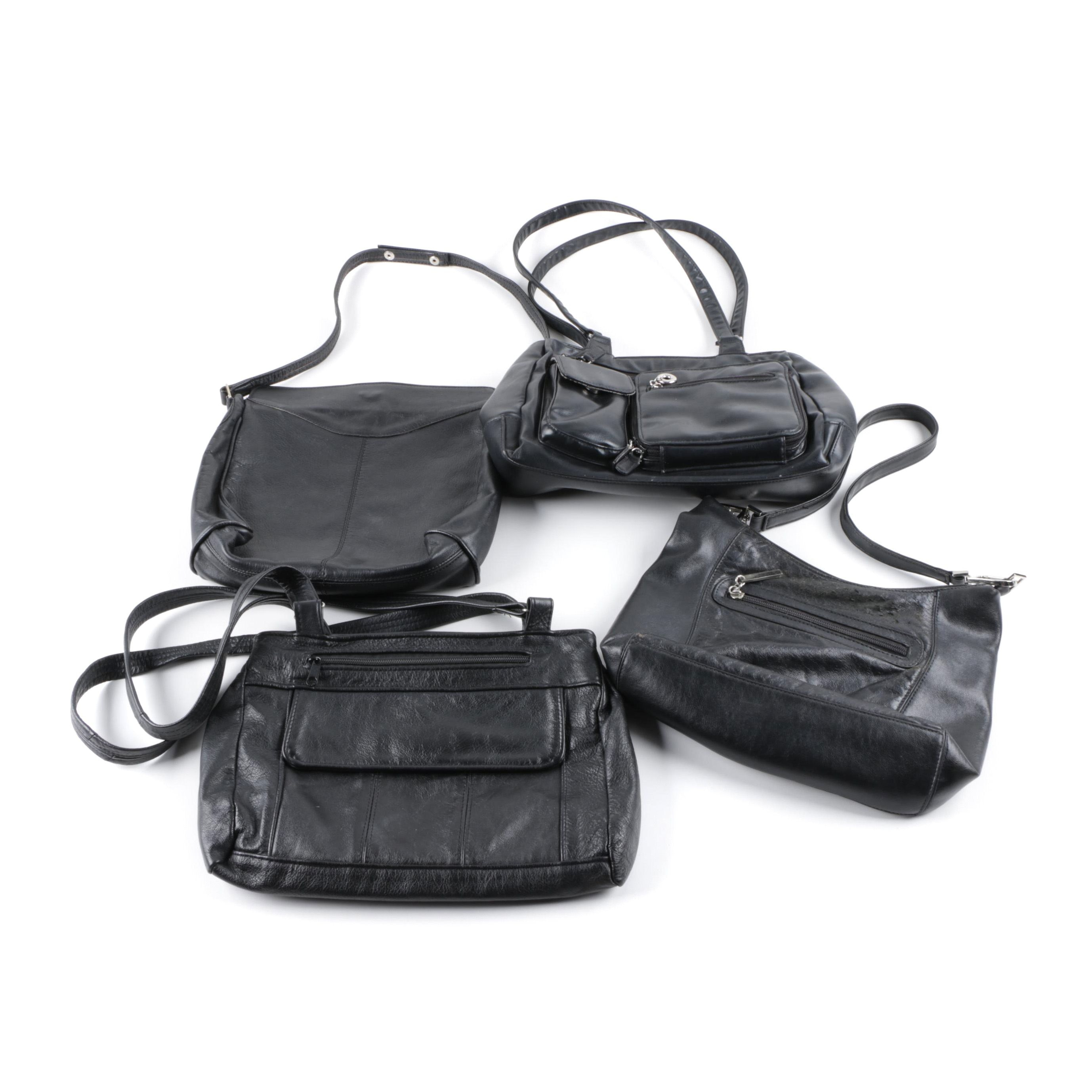 Black Leather and Faux Leather Handbags