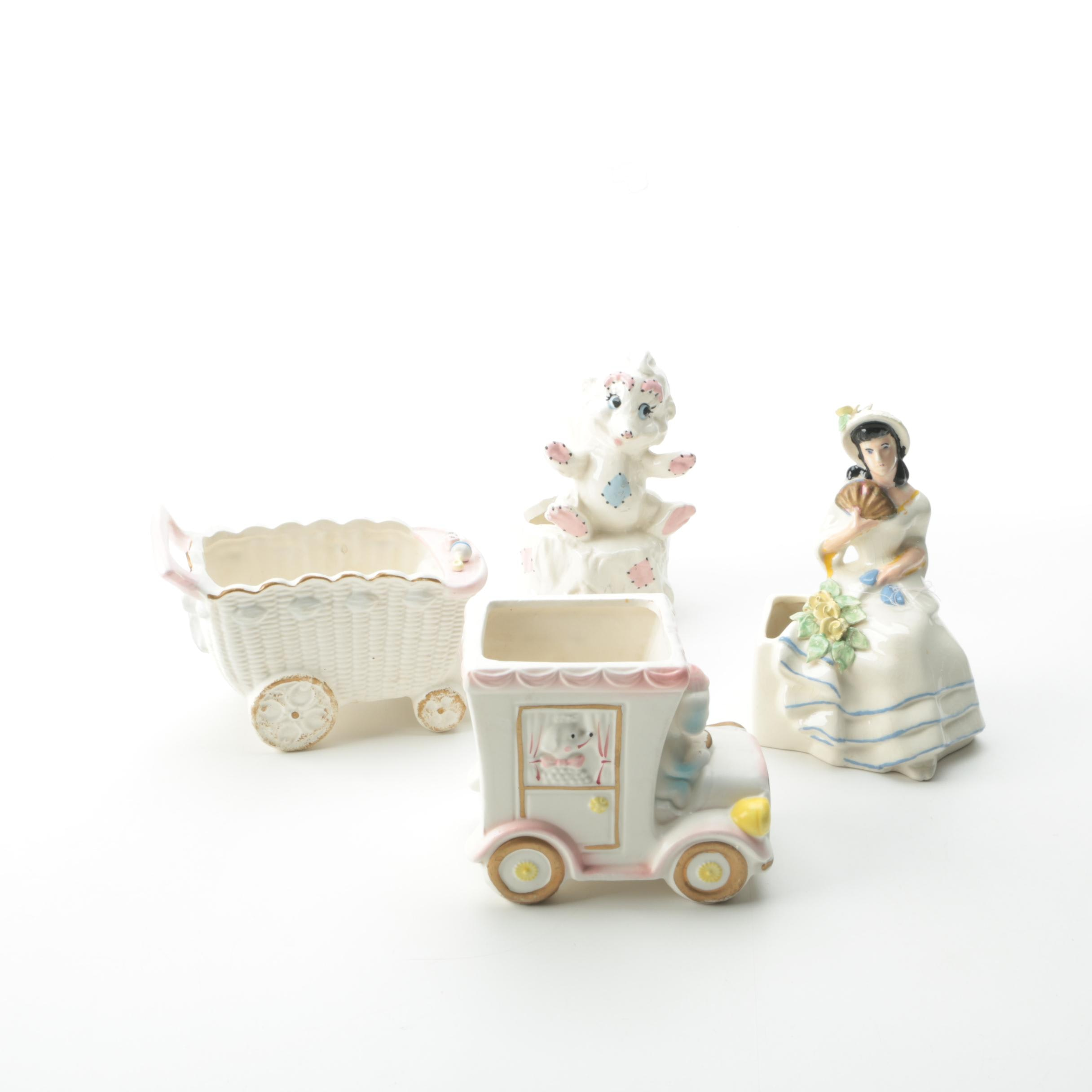 Ceramic Figurine Planters and Bud Vases Including Velco