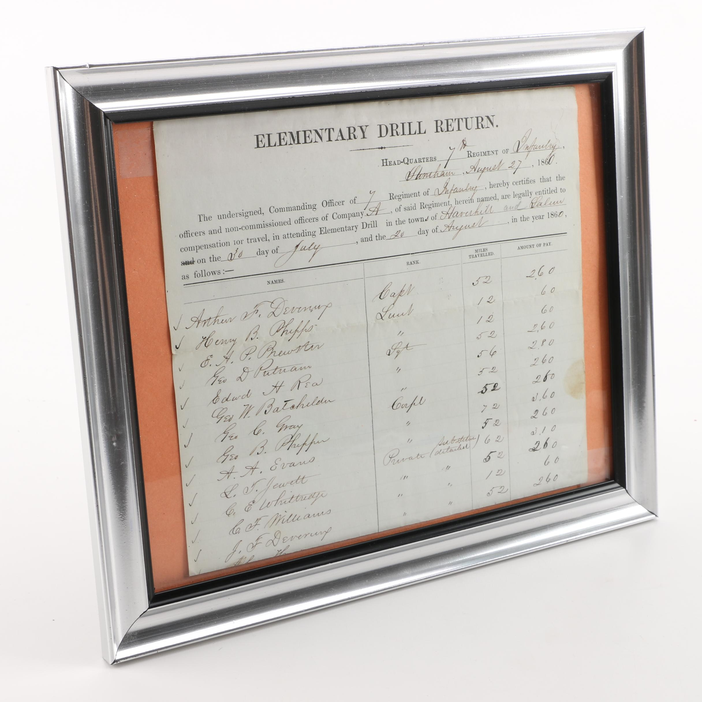 1860 Elementary Drill Return In Silver Tone Frame