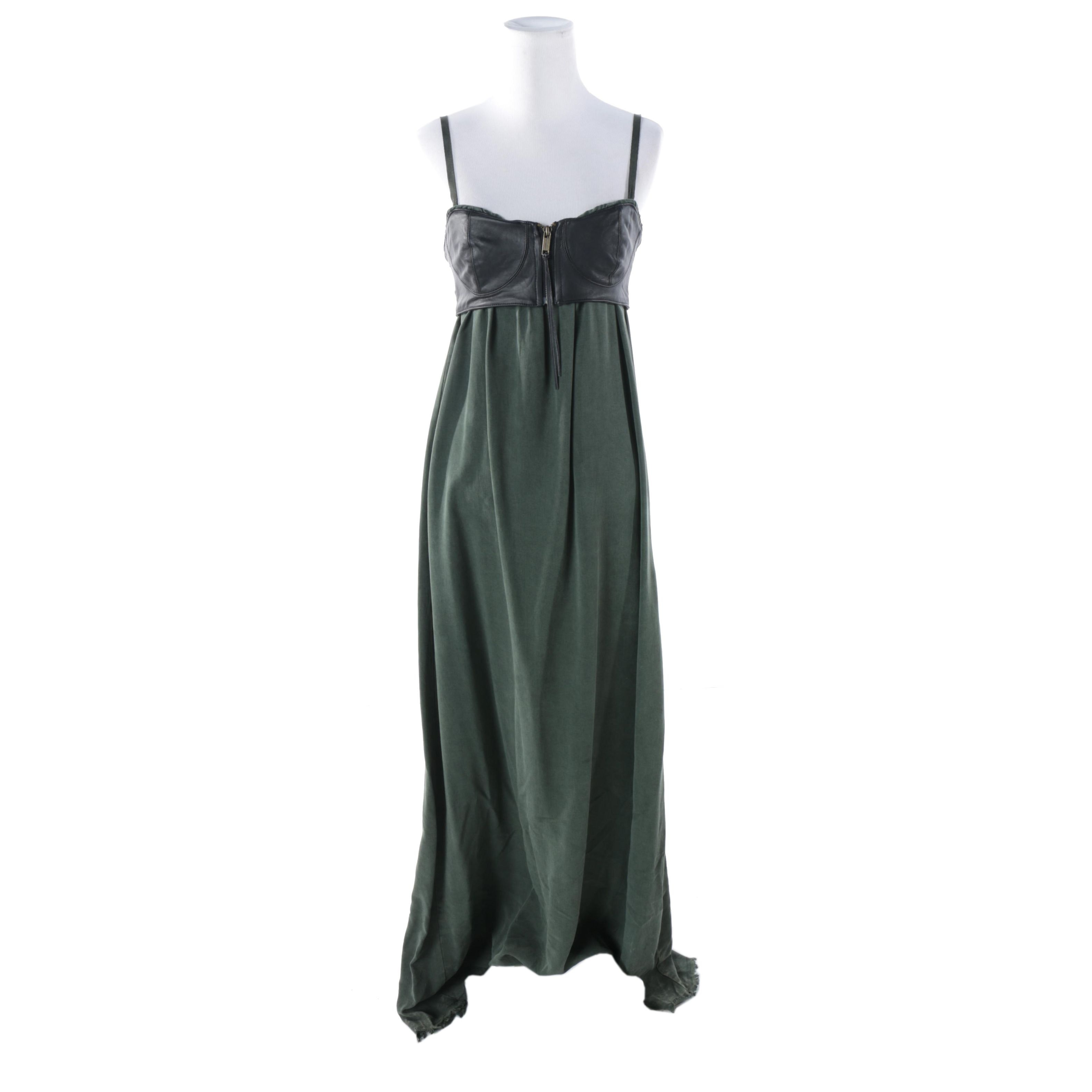 Diesel Black Lambskin Leather Accented Green Maxi Dress