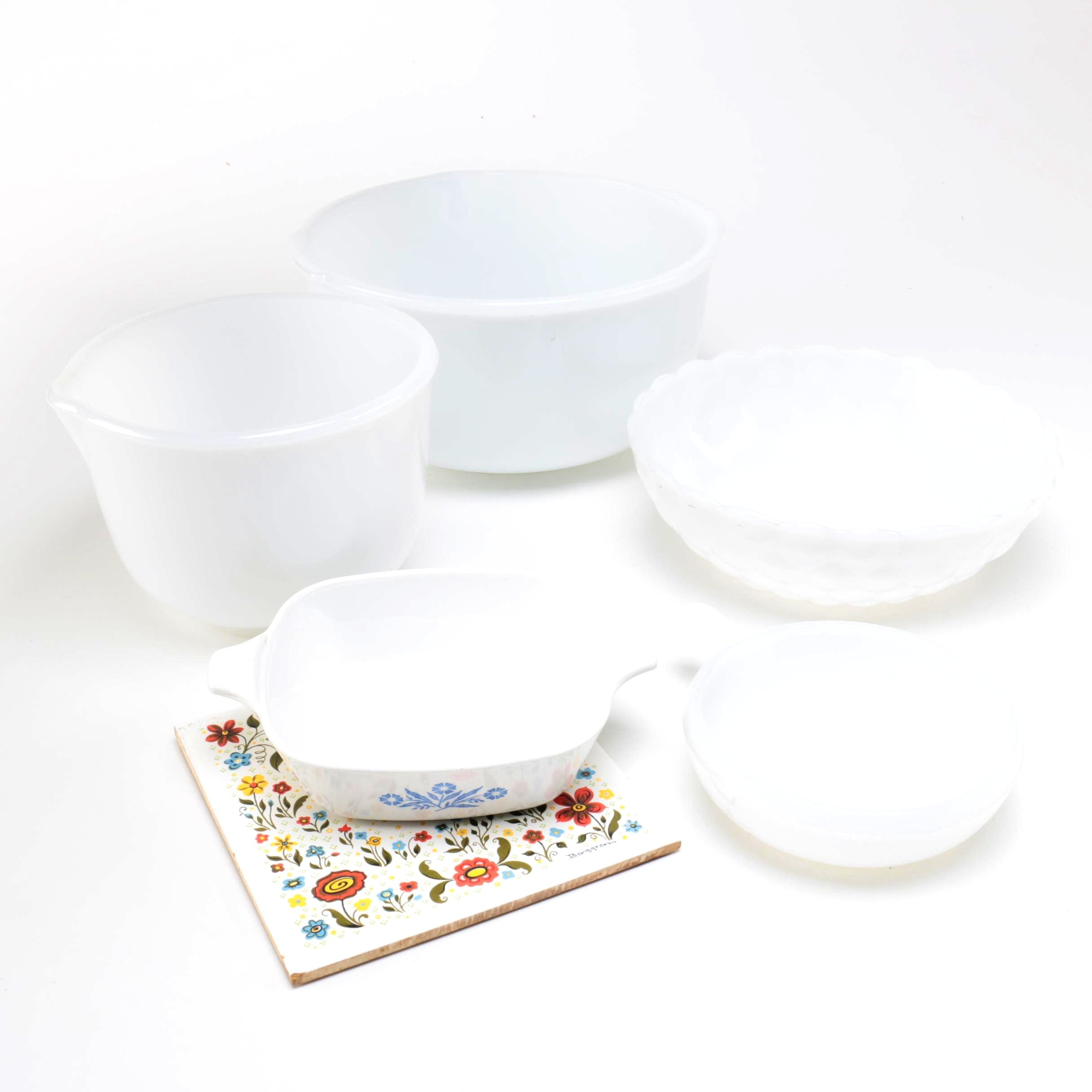 Glass Mixing Bowls Including Glasbake, Corning Ware and a 1960's Berggren Trivet