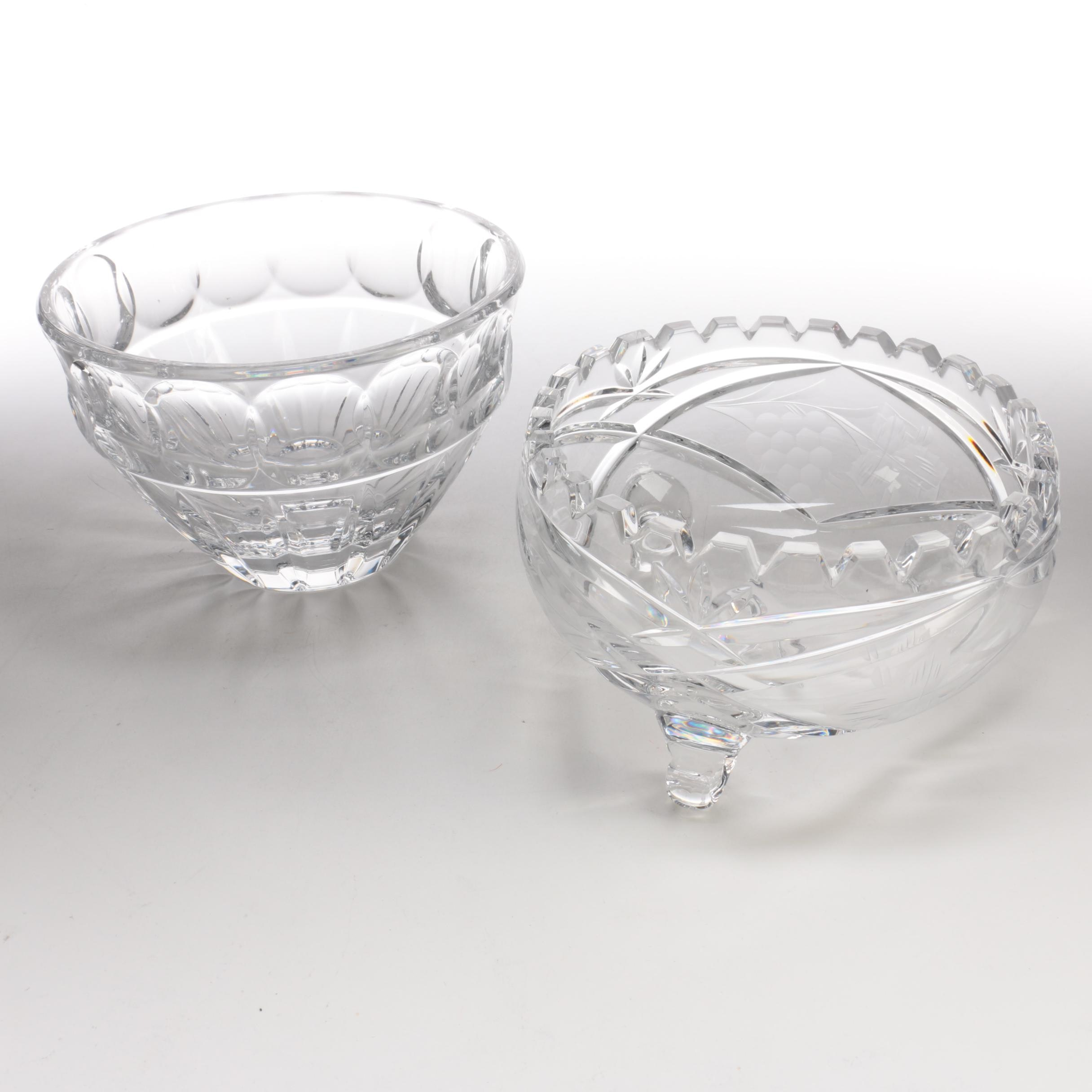 """Lenox """"Woodward"""" with Etched Crystal Bowls"""