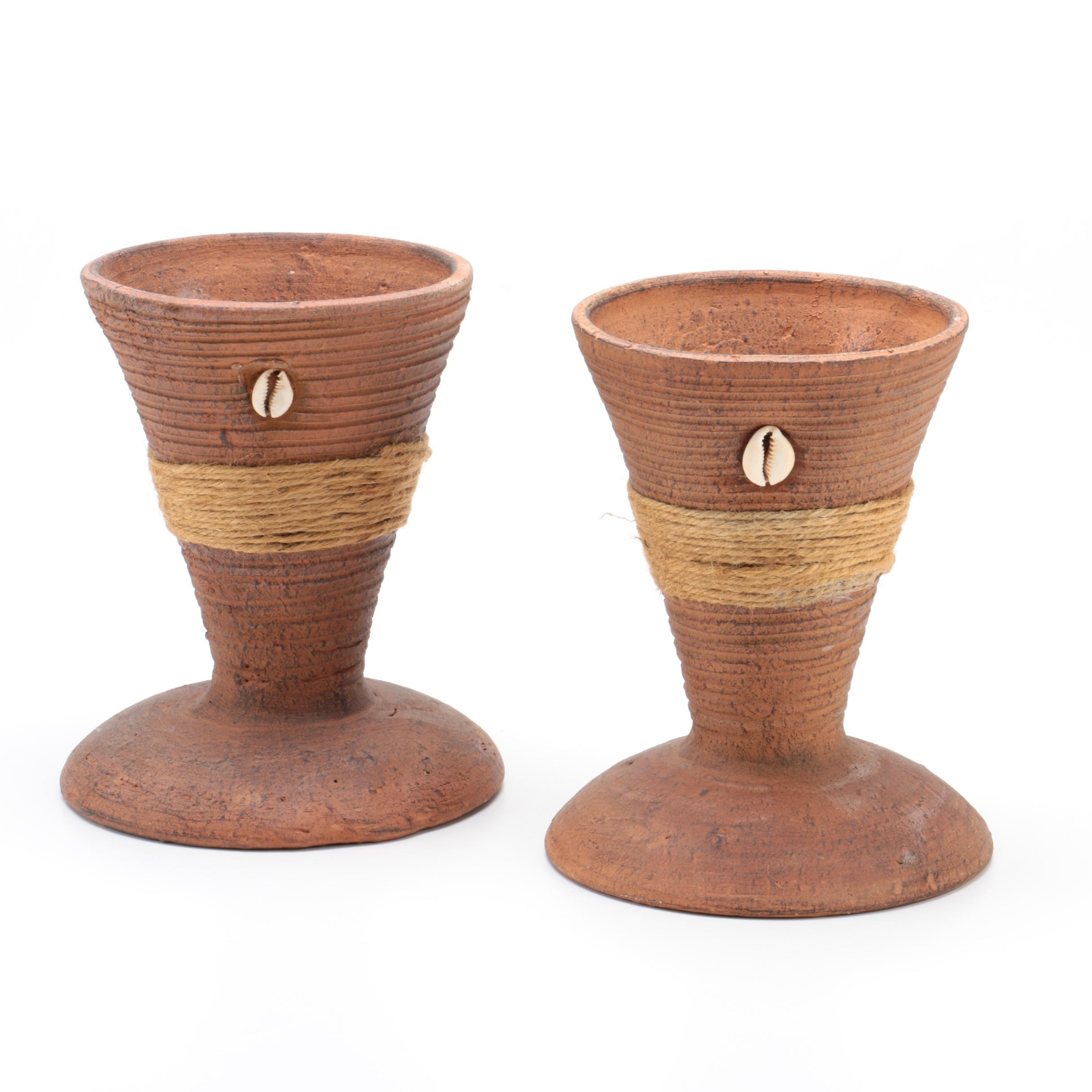 Ceramic Planters with Jute and Cowrie Shell Accents