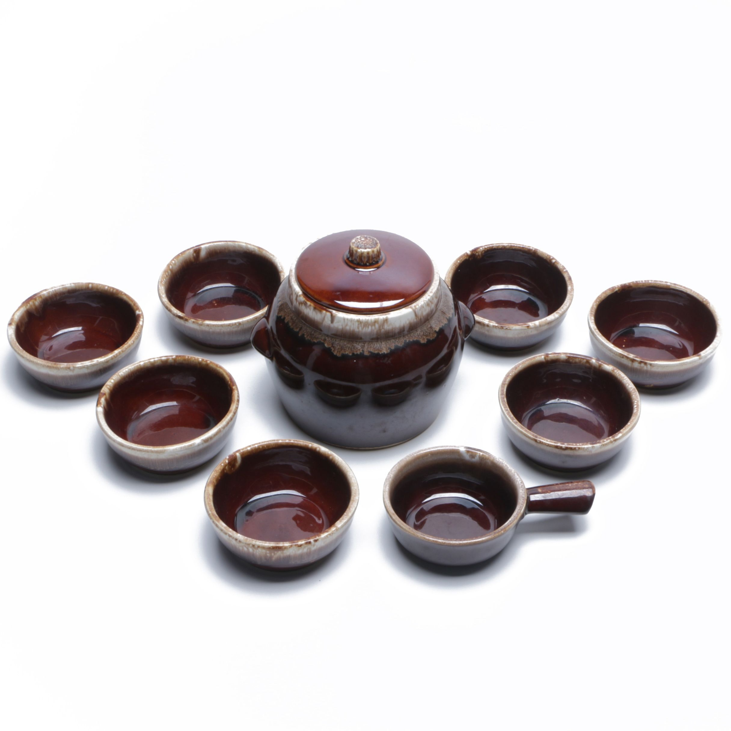 "McCoy Pottery ""Brown Drip"" Stoneware Bowls and Kathy Kale Bean Pot"