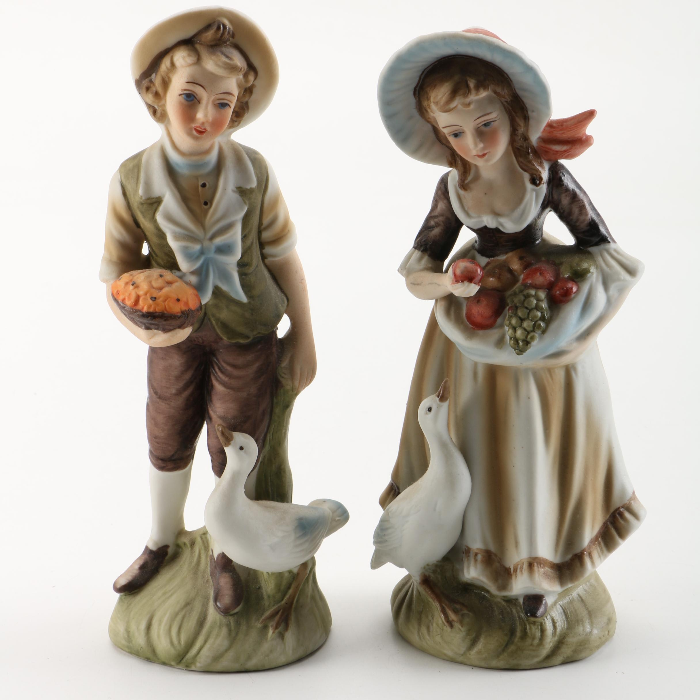 Lefton China Pastoral Figurines with Ducks and Fruit