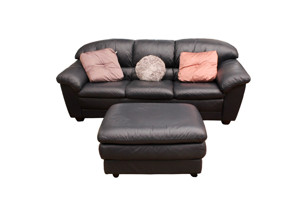 Dark Navy Leather Sofa and Ottoman