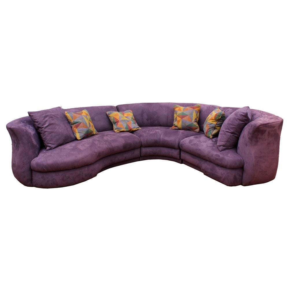 Modern Purple Upholstered Sectional Sofa