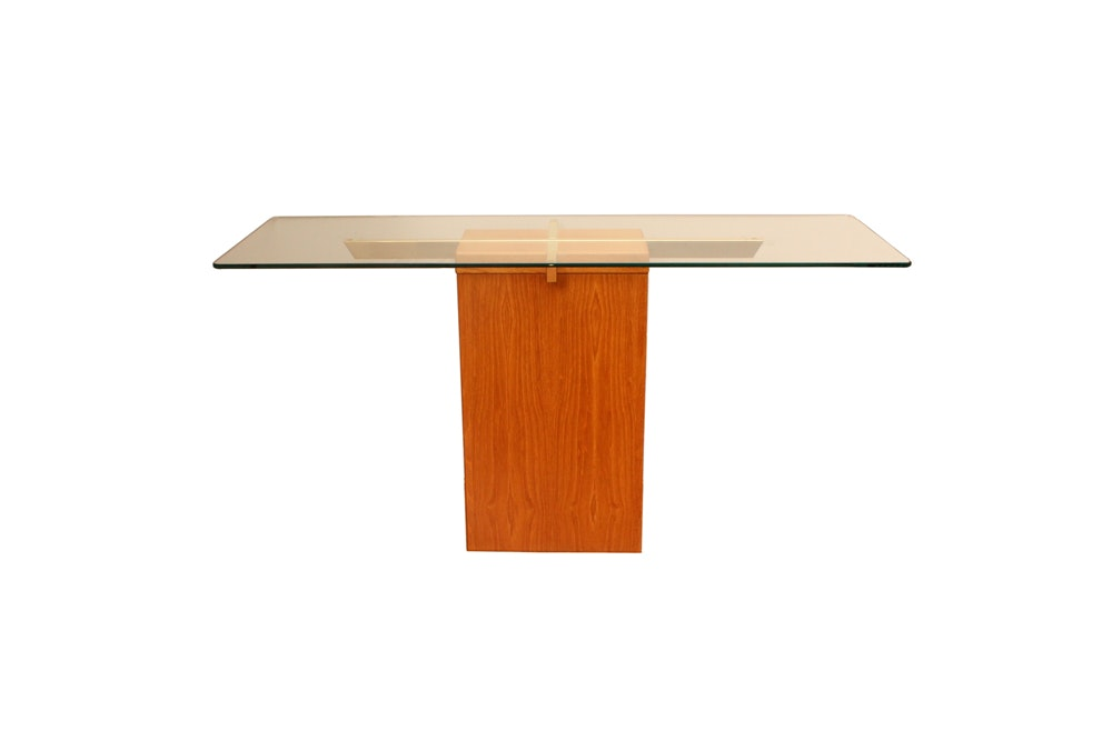 Danish Modern Glass And Wood Console Table By Trioh ...