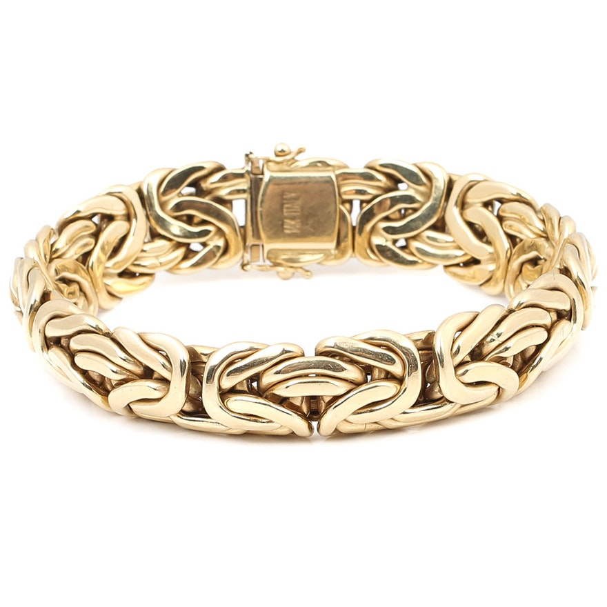 14k Yellow Gold Byzantine Bracelet