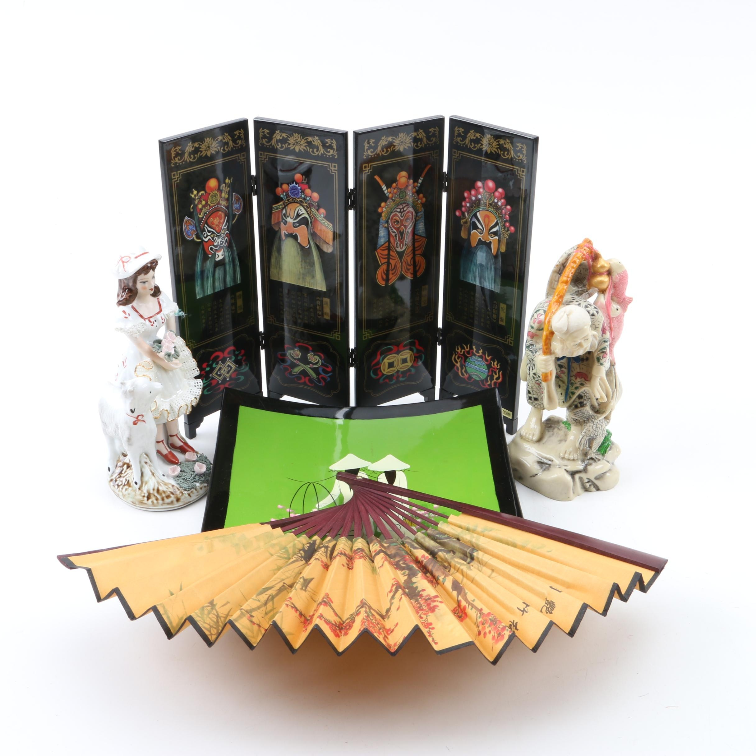 Ceramic Figurines with Decorative Fan and Folding Screen