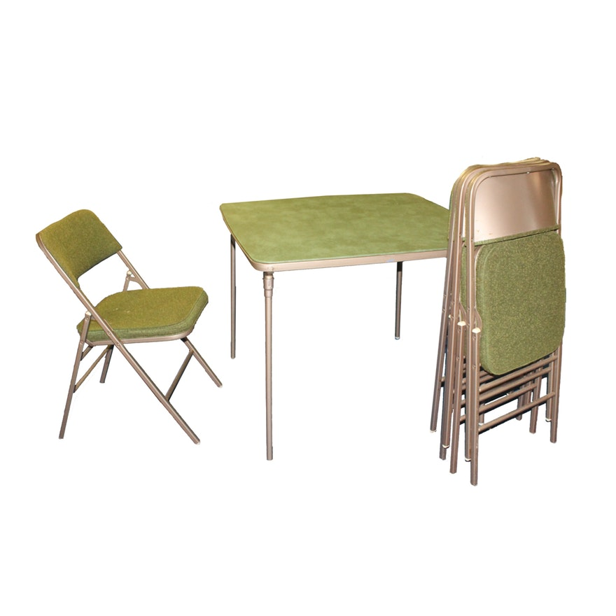 Awesome Vintage Metal Folding Table And Chairs By Samsonite Pabps2019 Chair Design Images Pabps2019Com