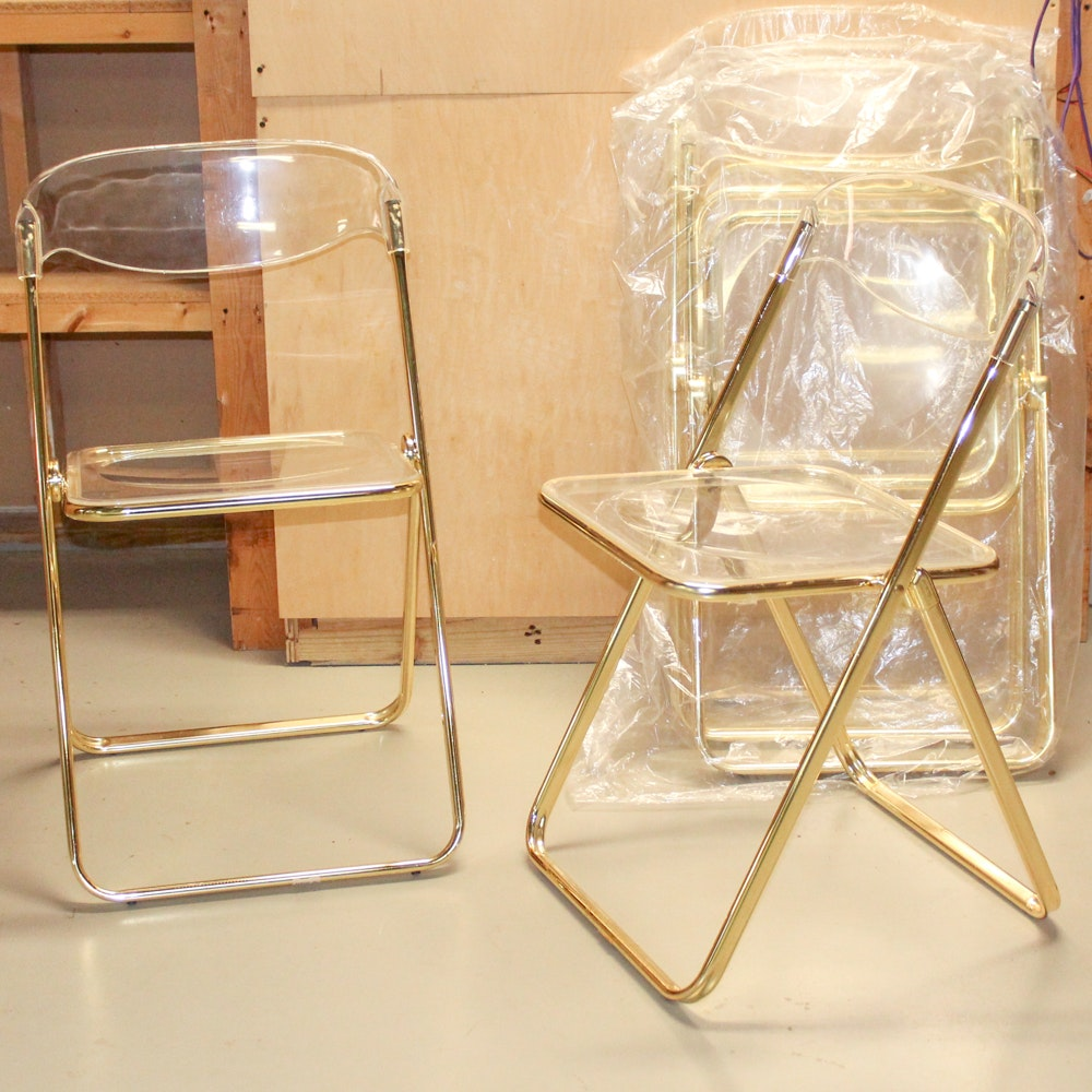 Clear Acrylic And Gold Metal Folding Chairs ...