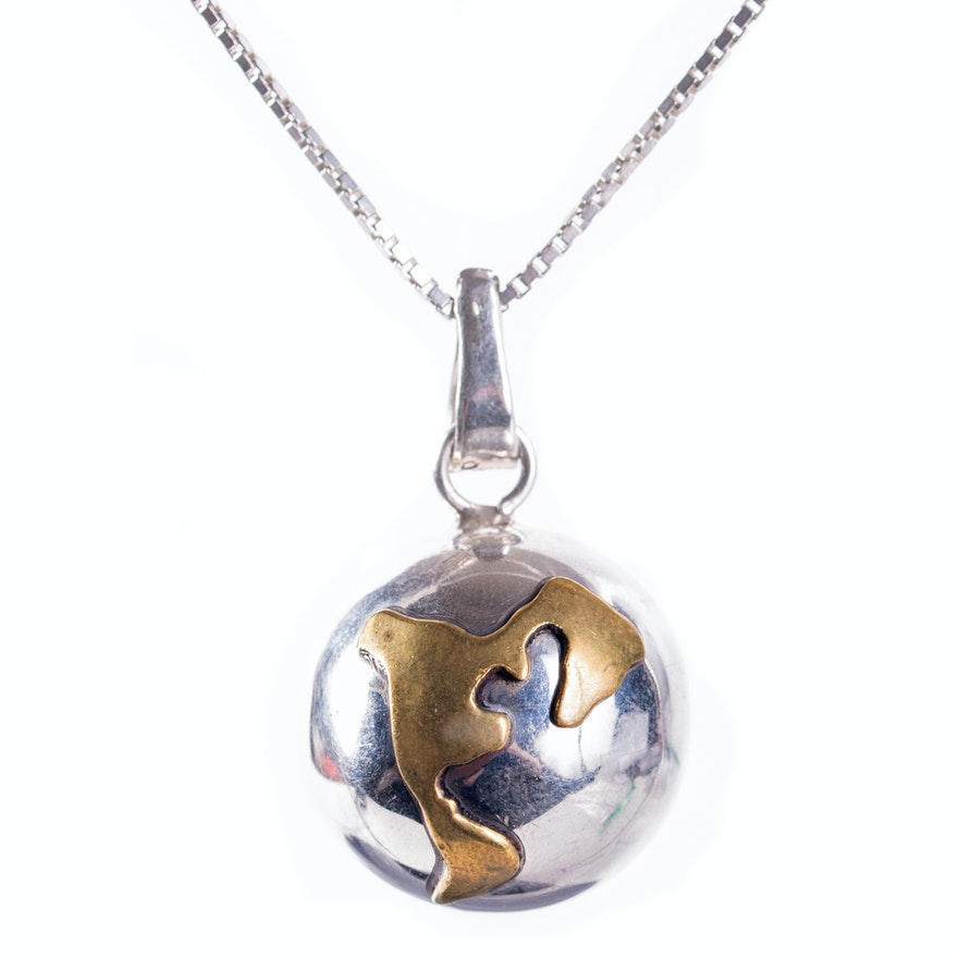 Sterling silver harmony ball earth pendant necklace ebth sterling silver harmony ball earth pendant necklace aloadofball Images