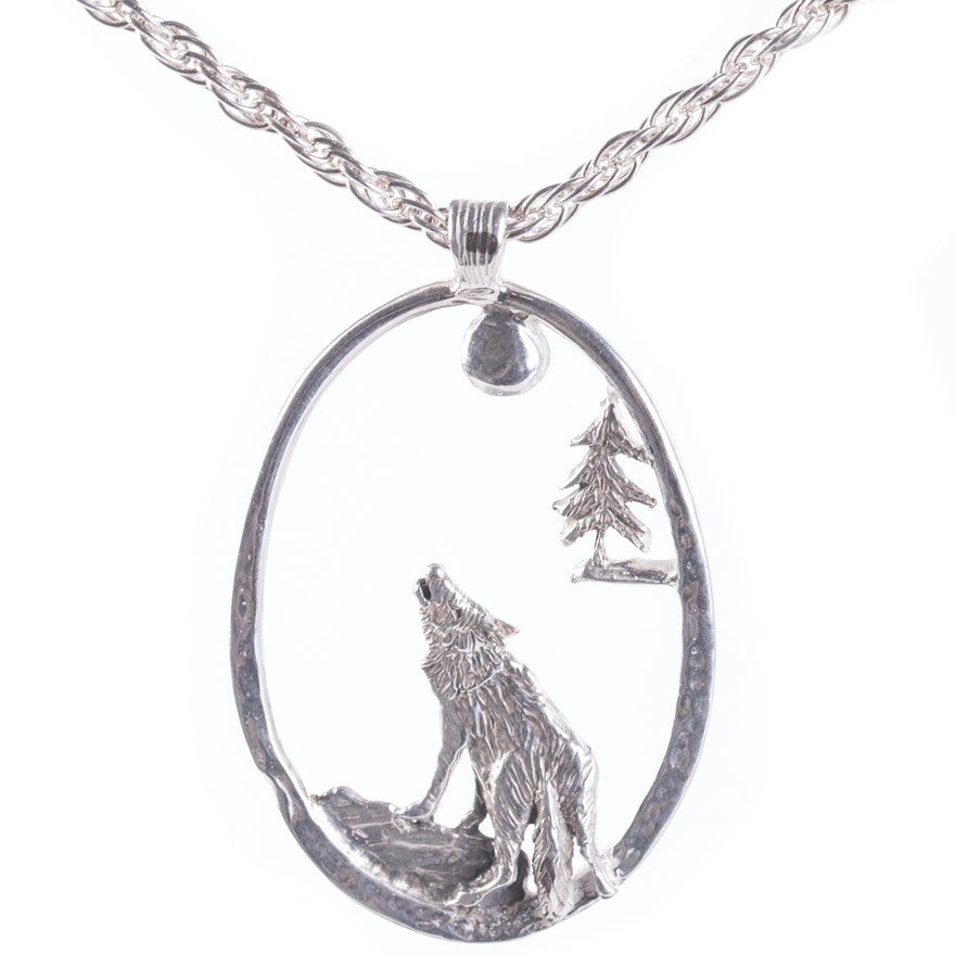 Sterling silver howling wolf pendant necklace ebth sterling silver howling wolf pendant necklace aloadofball Choice Image