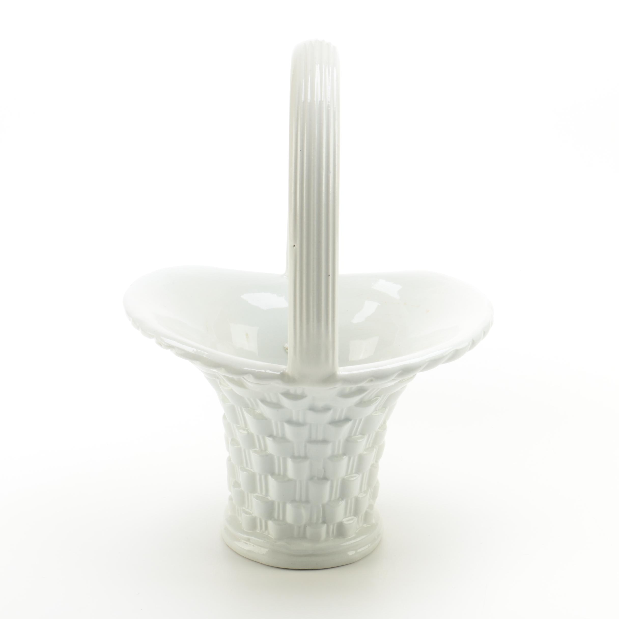 Italian White Ceramic Basket