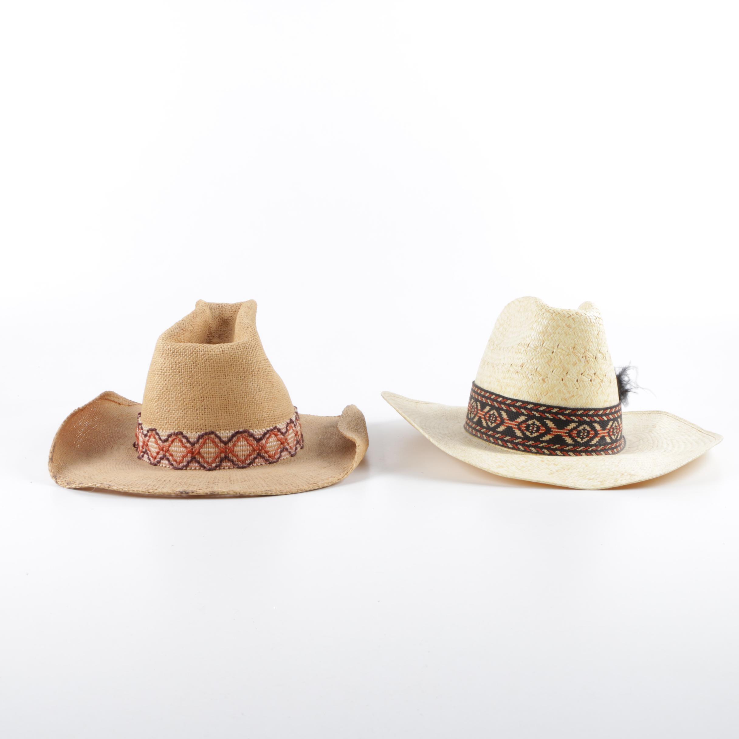 Vintage Resistol and Artel Straw Cowboy Hats