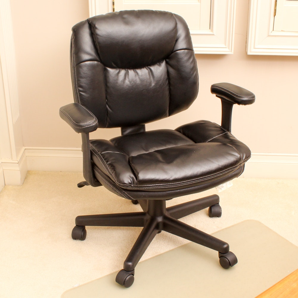 Lovely Faux Leather Rolling Office Chair By Office Depot ...