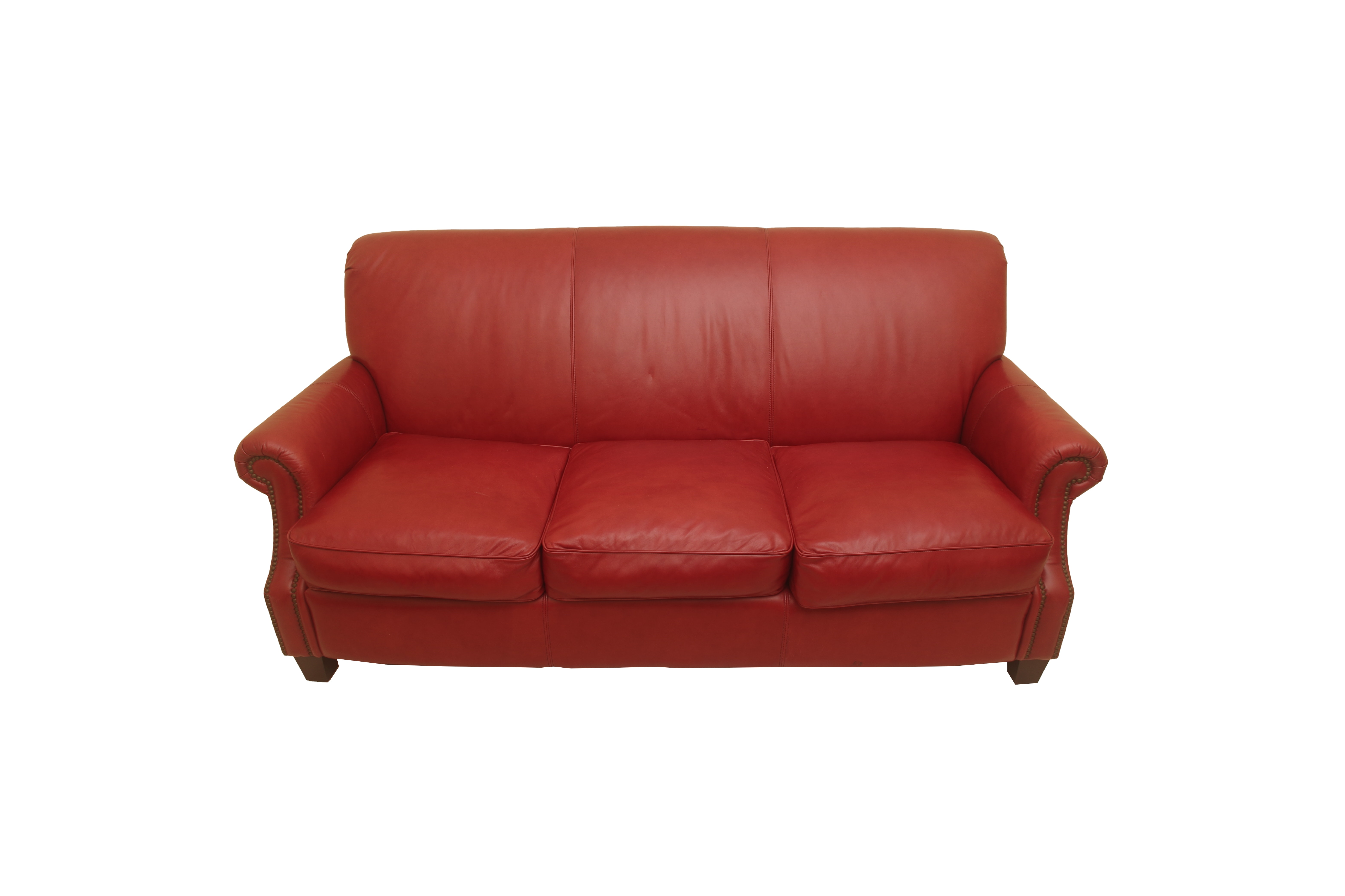 Red Upholstered Sofa by Thomasville