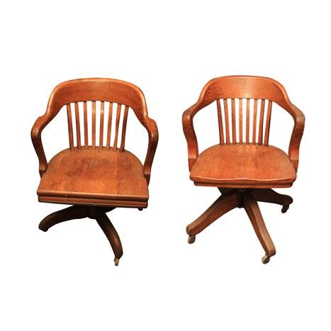 Vintage Oak Bankers Chairs ...