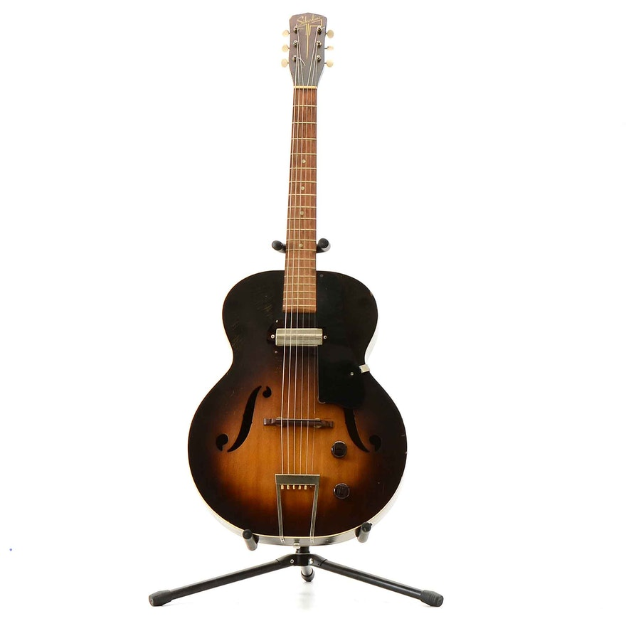 circa 1951 silvertone by harmony h51 archtop electric guitar ebth. Black Bedroom Furniture Sets. Home Design Ideas