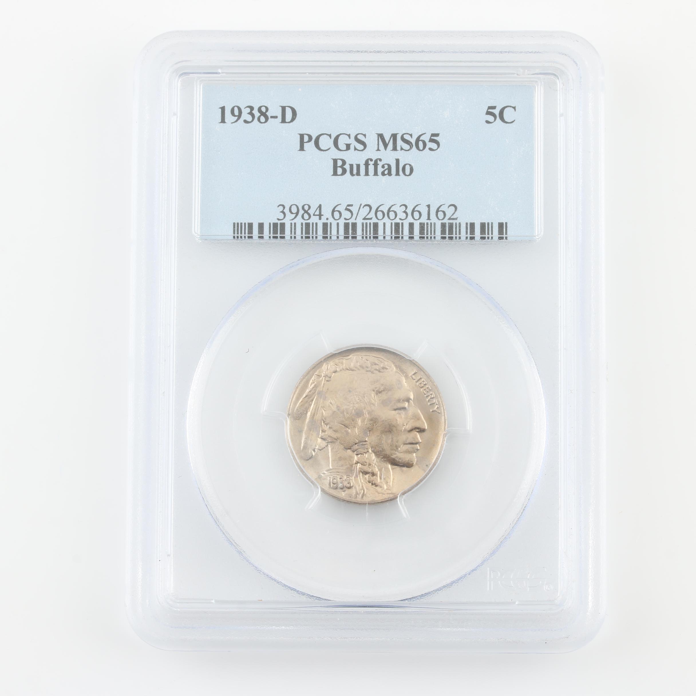PCGS Graded MS65 1938-D Buffalo Nickel