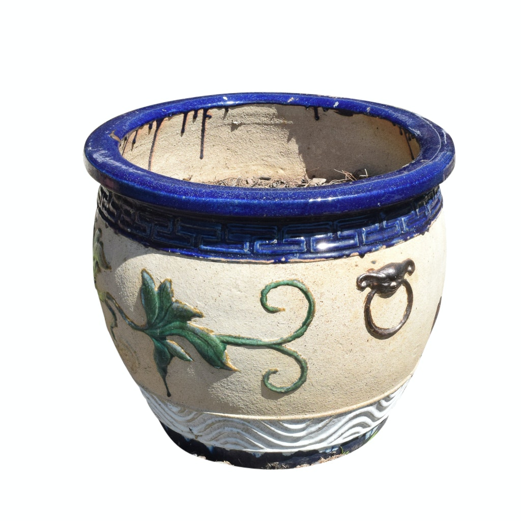 Painted Asian Style Planter with Plant