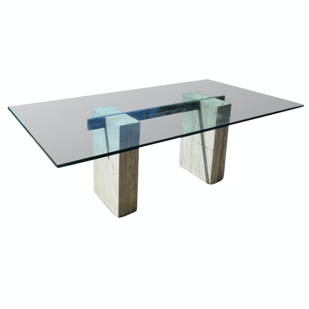 Modernist Stone and Glass Top Dining Table