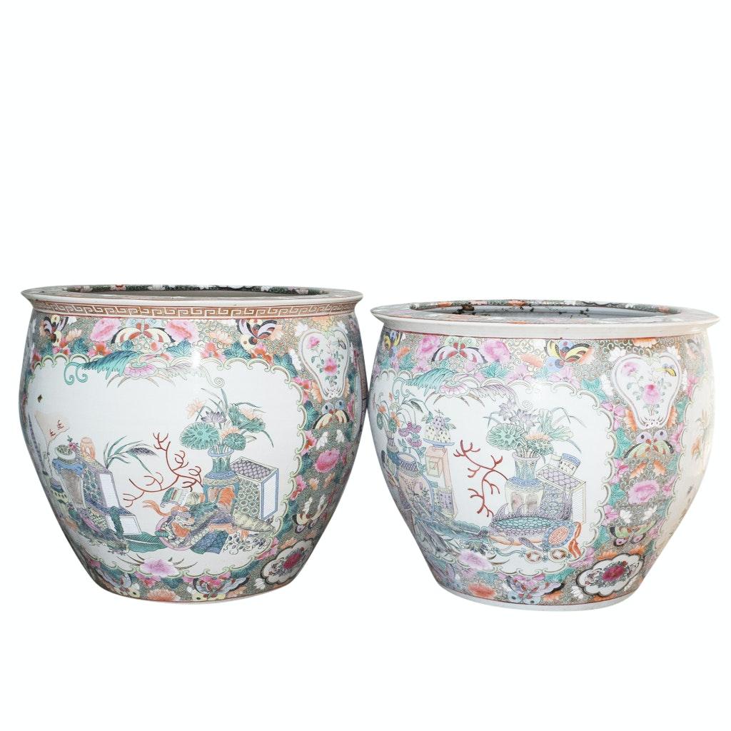 Pair of Chinese Rose Medallion Ceramic Planters