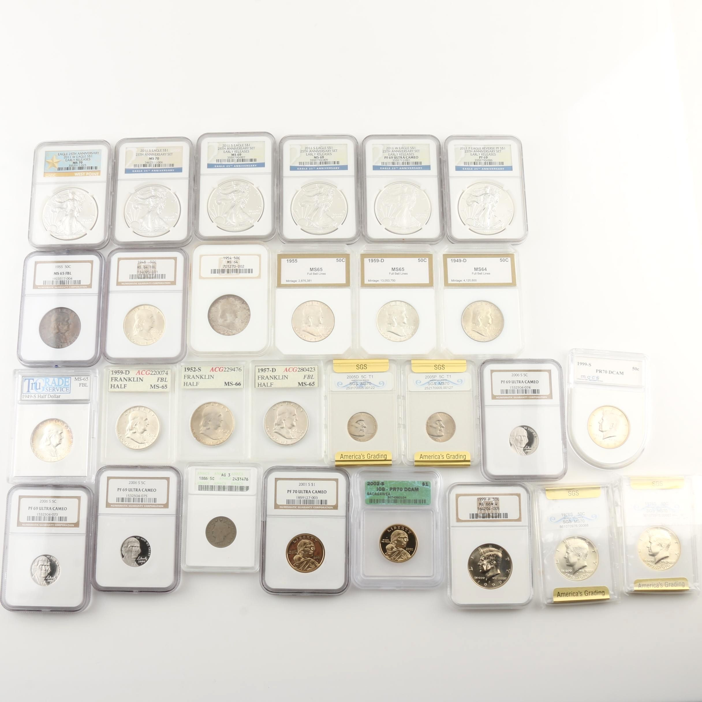 Large Group of Antique to Modern U.S. Coins, Mainly Silver and a Key Date Nickel