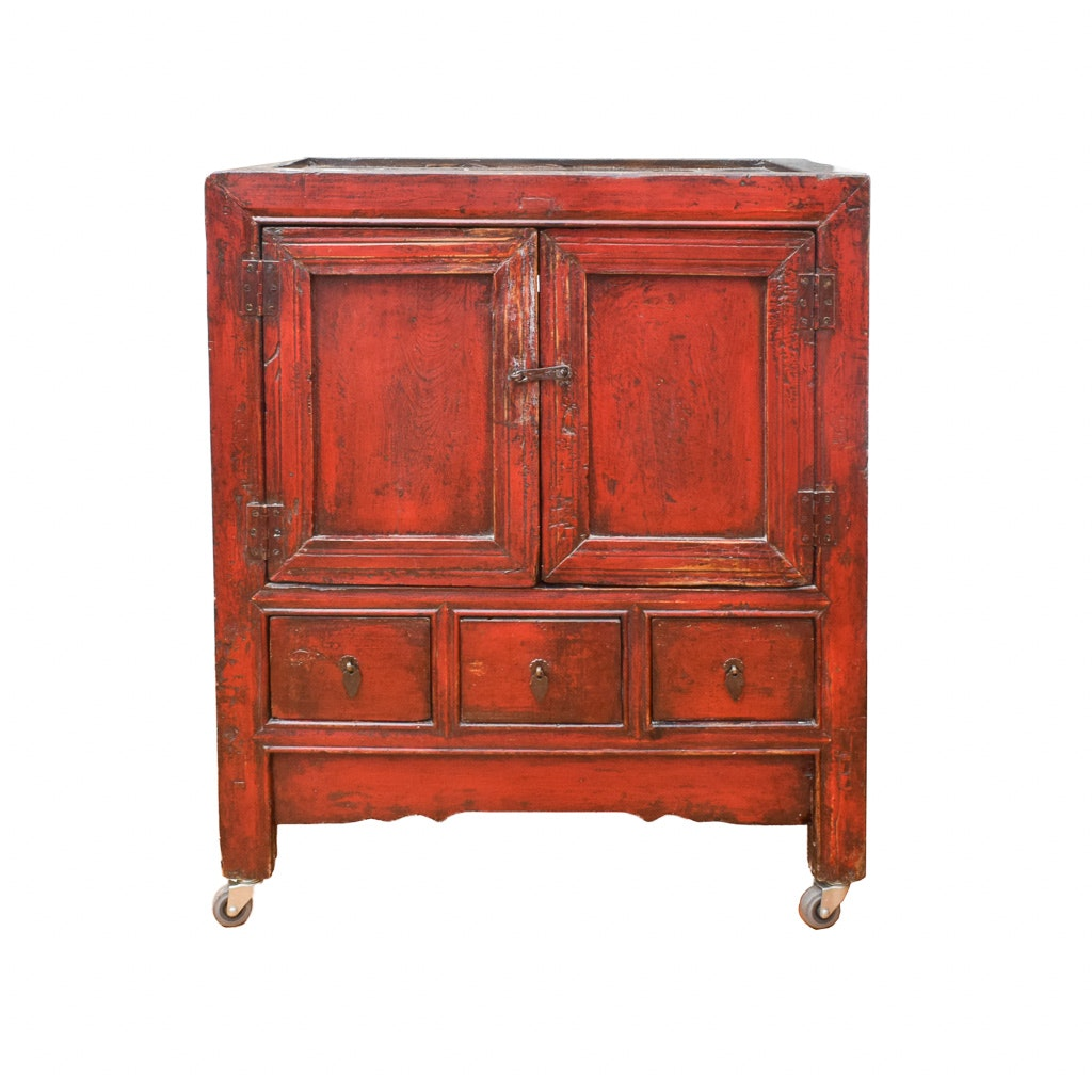 Chinese Red Lacquered Wood Cabinet