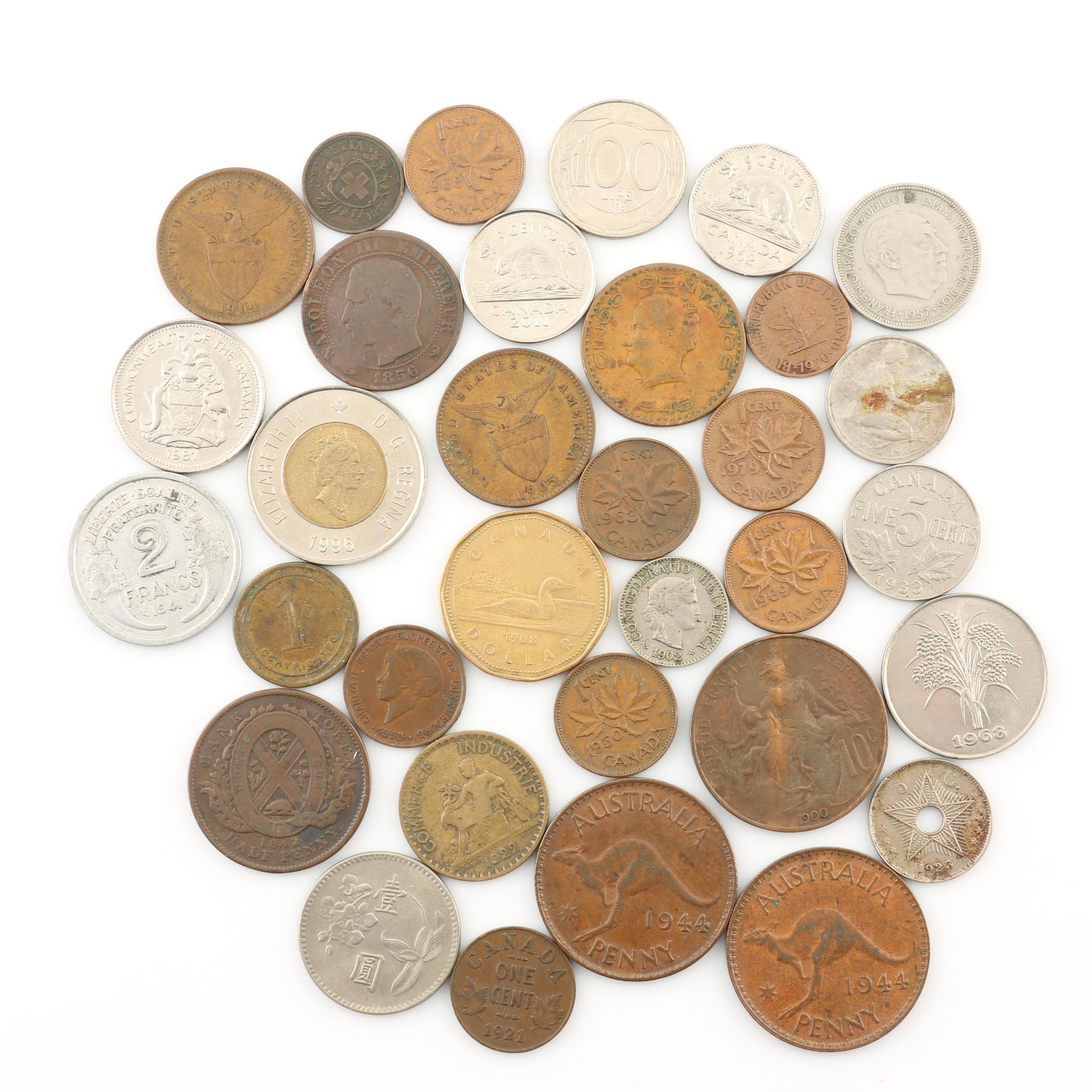 Thirty-Three Antique to Modern Foreign Coins