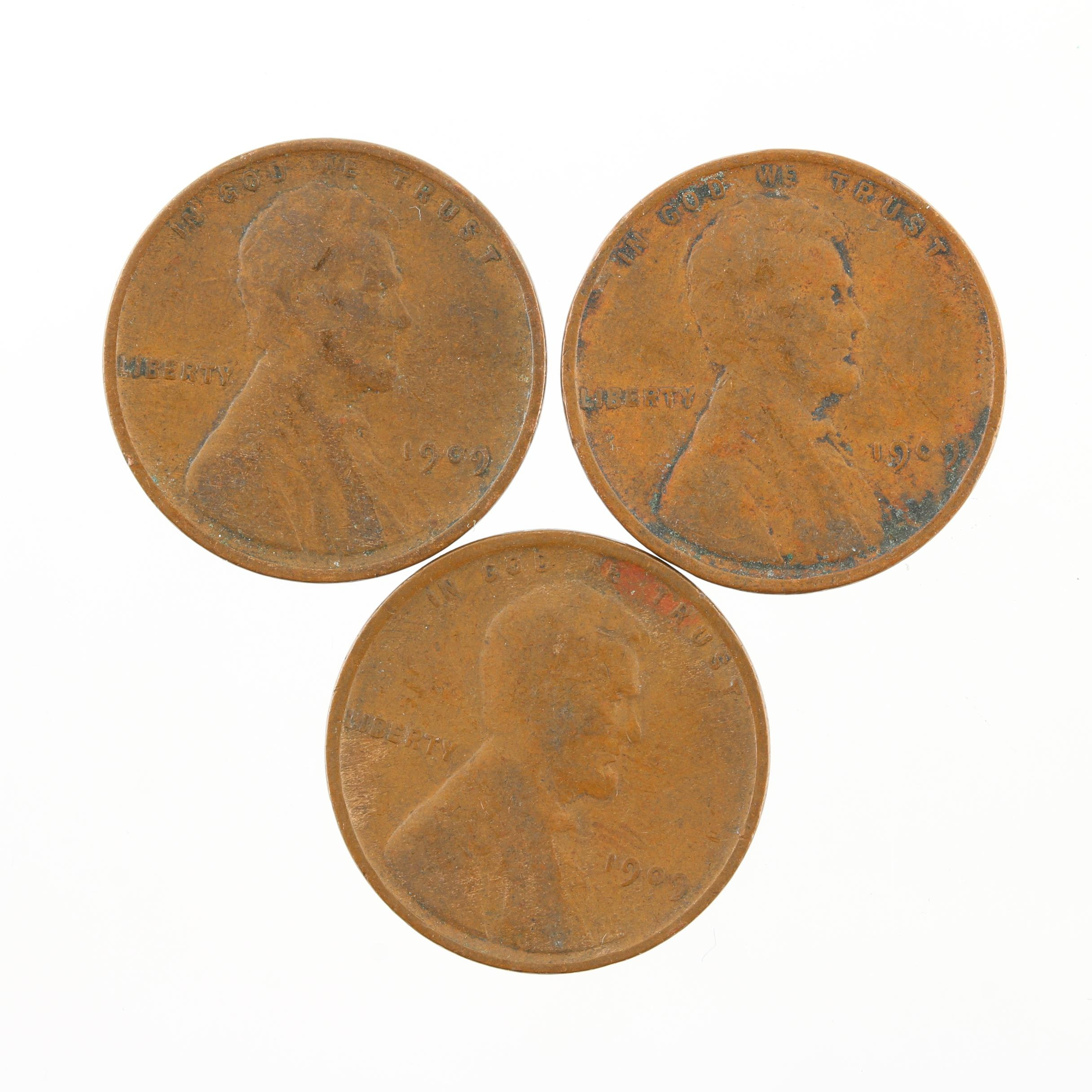 Three 1909 Lincoln Wheat Cents