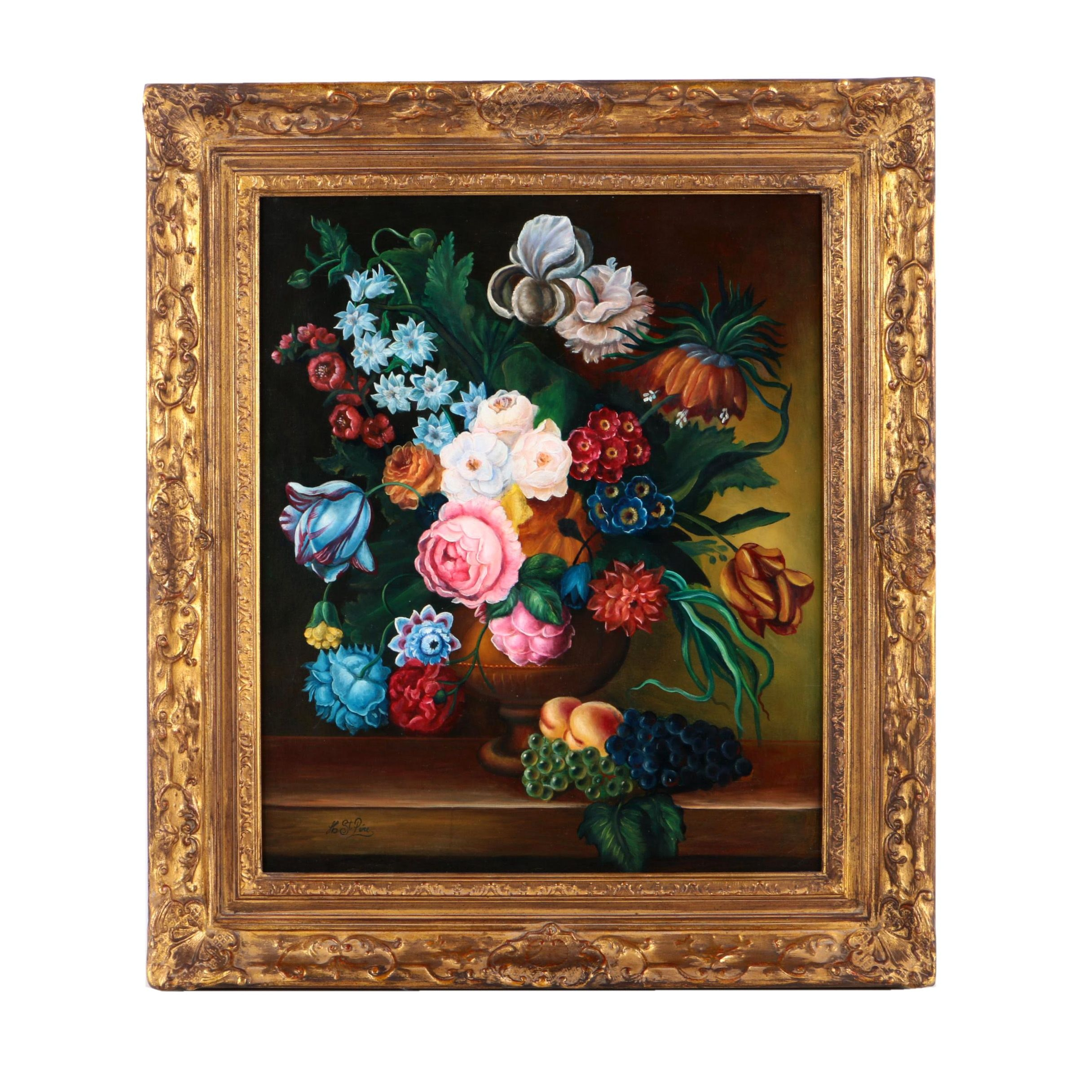 """Hugo Constantino St. Pere Oil Painting on Canvas """"Floral"""""""