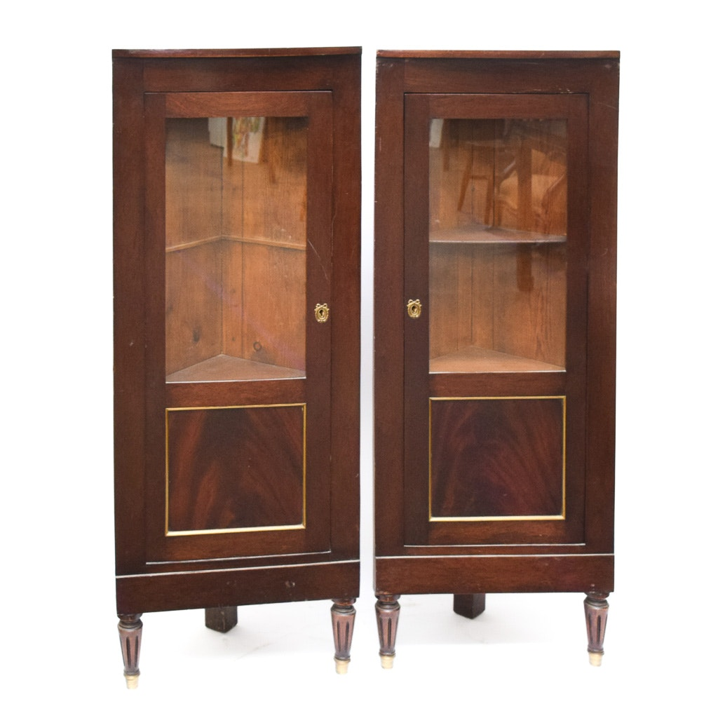 Pair of Regency Style Corner Display Cabinets