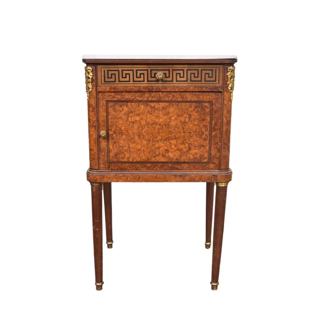 Burr Walnut Louis XVI Pot Cabinet with Parquetry