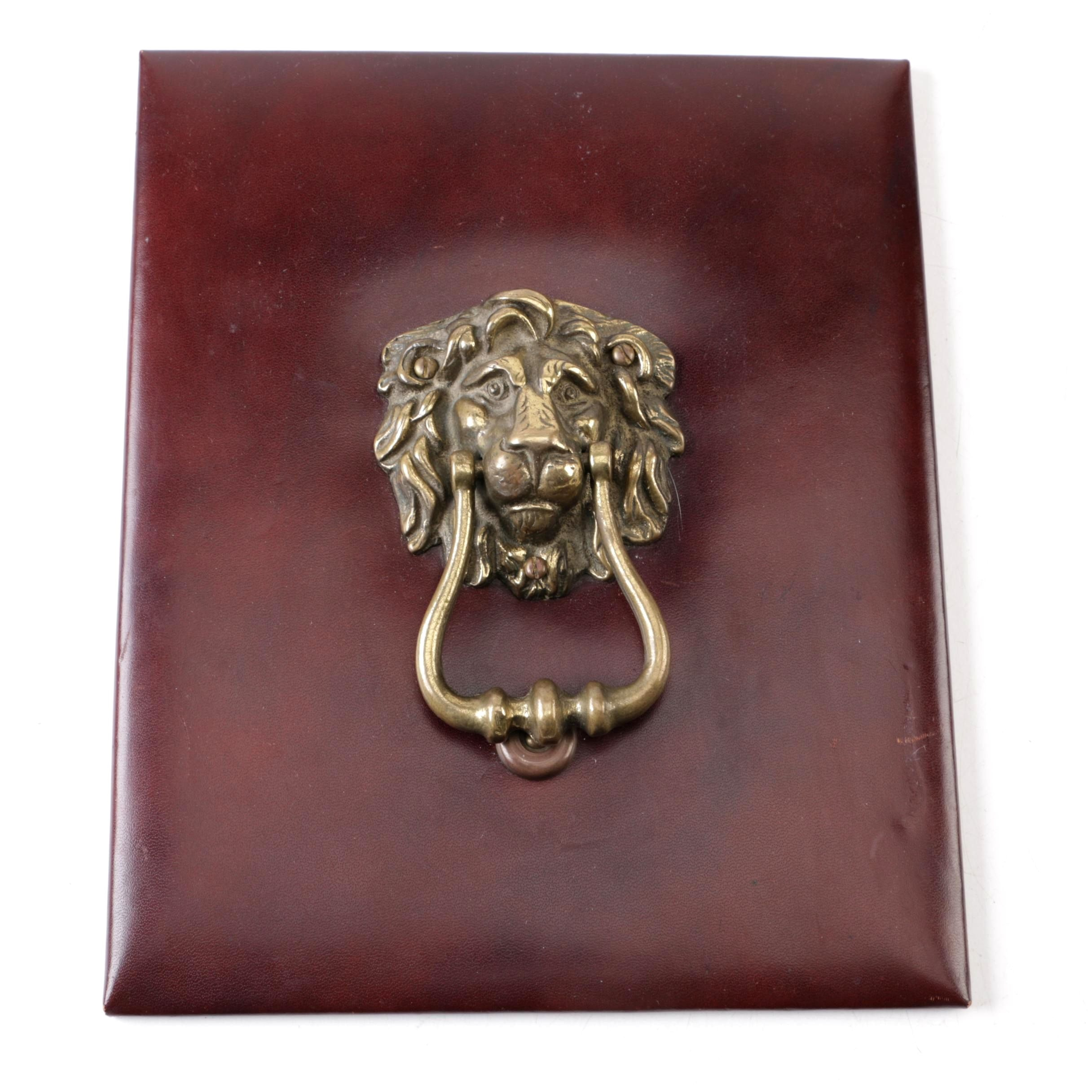 Brass Lion Mask Door Knocker With Leather Backing Board