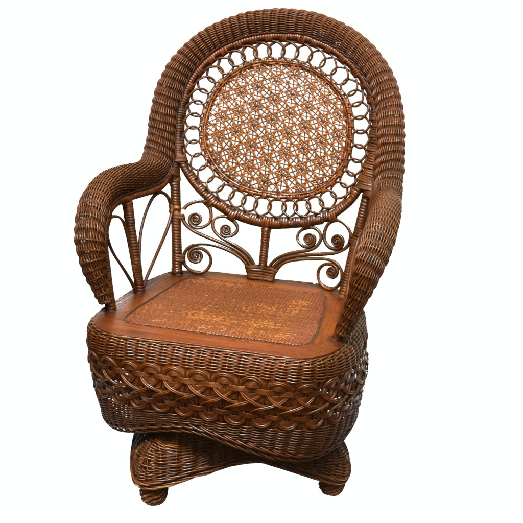Vintage Swivel Wicker Chair ...